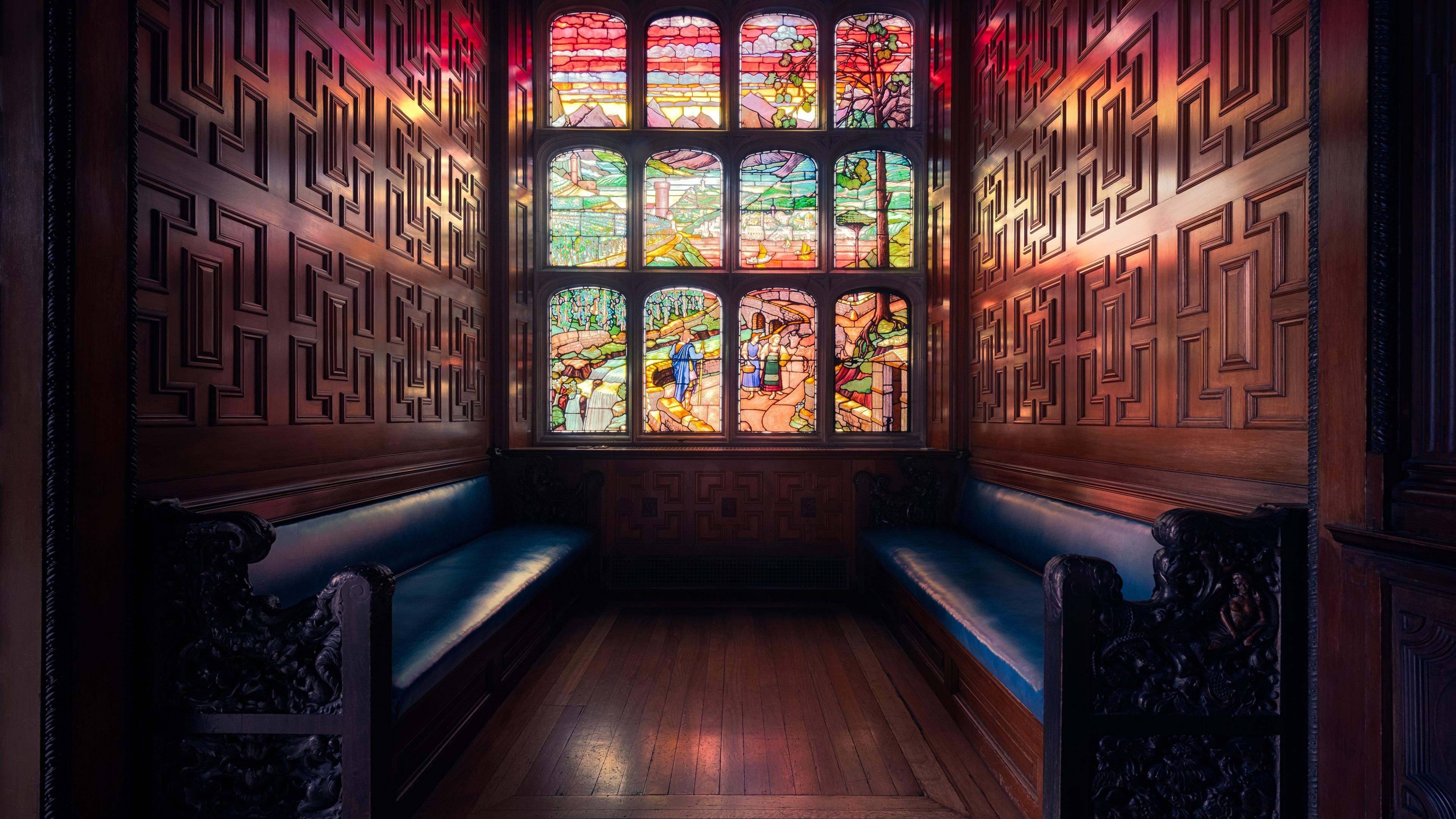 壁紙 ロンドン イングランド 窓 ステンドグラス ベンチ 3840x2160 Uhd 4k 無料のデスクトップの背景 画像