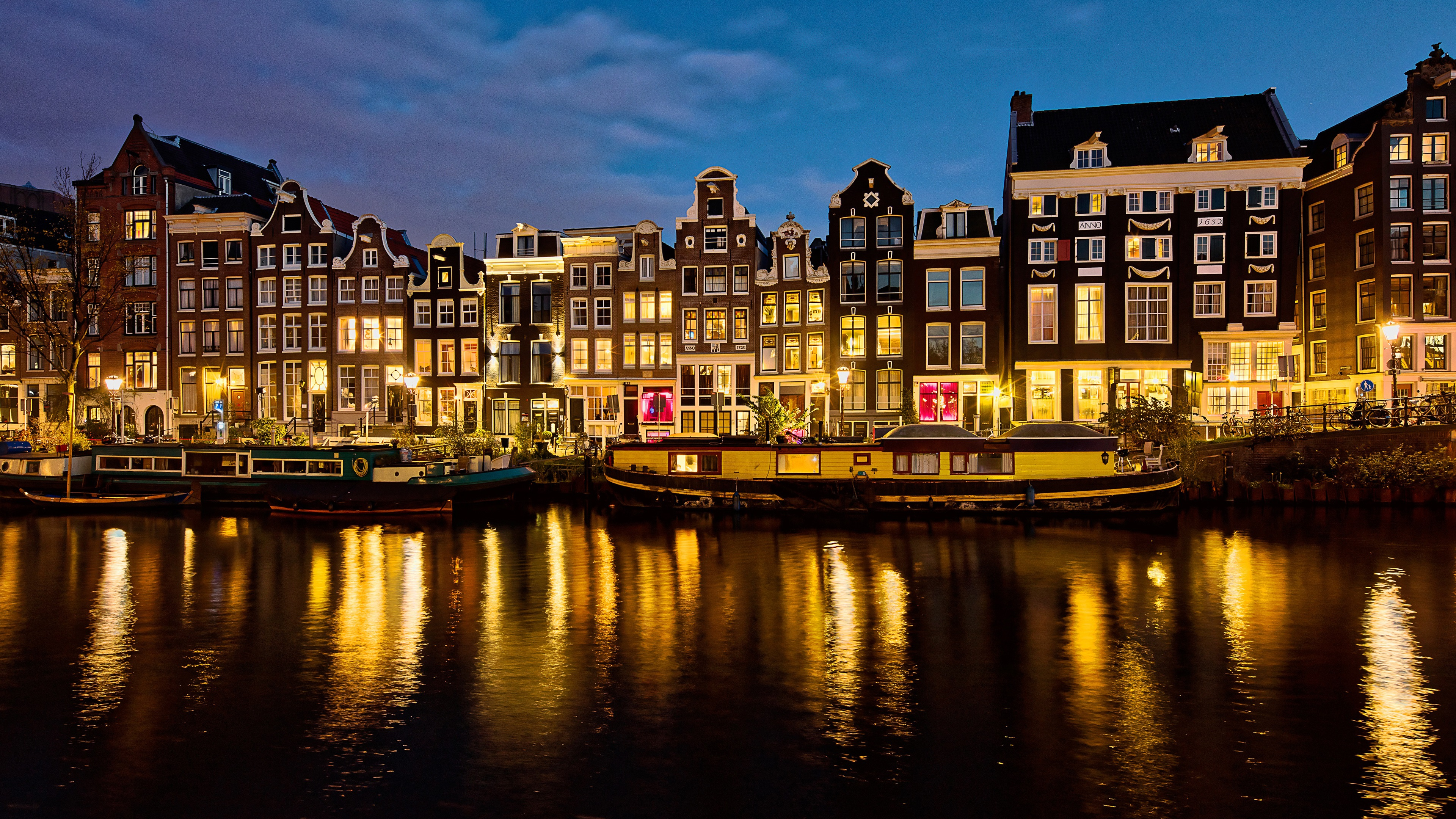 Обои канал, нидерланды, дома, ночь. Города foto 17