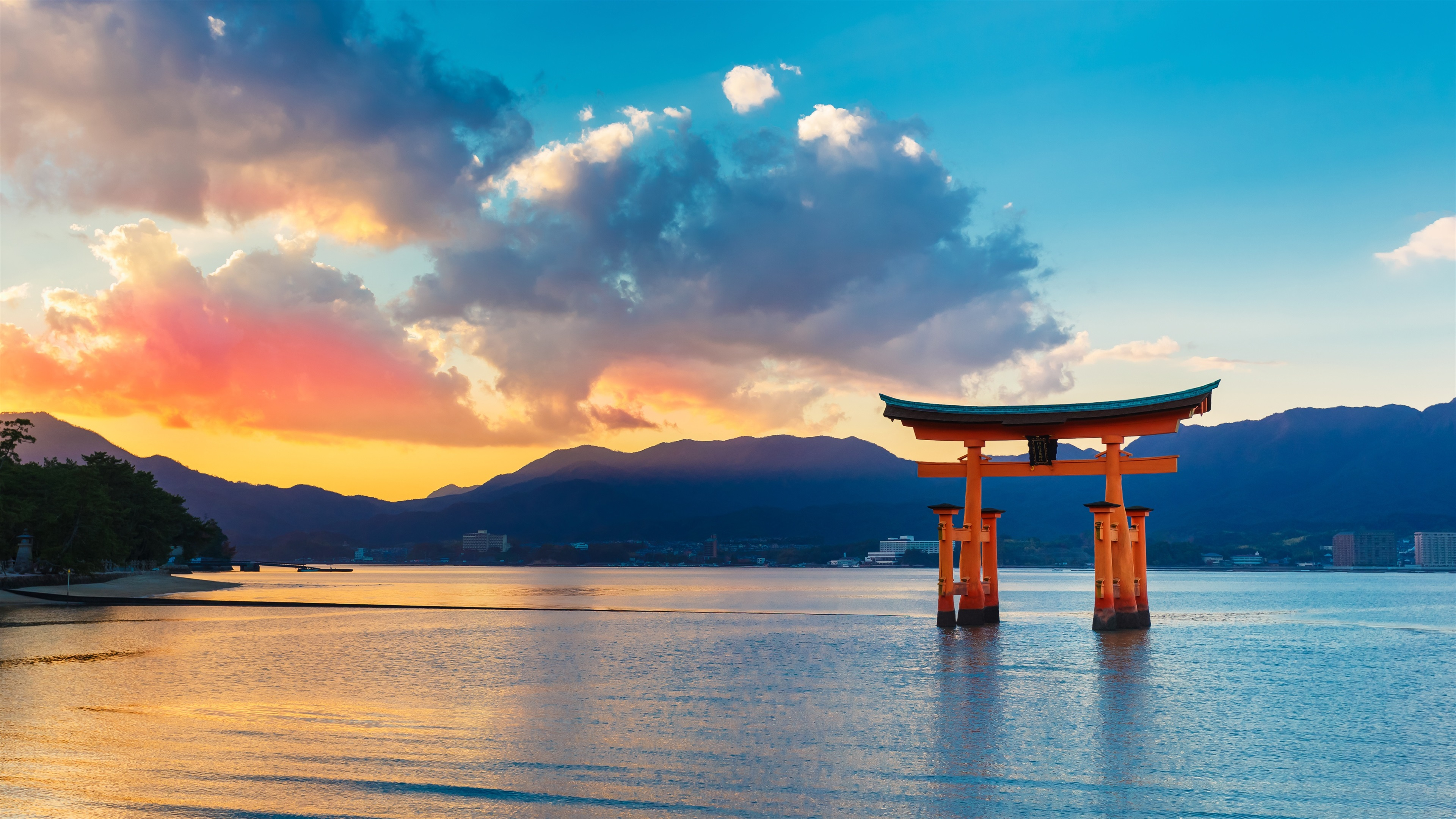 Wallpaper Torii Gate Sea Sunset Japan 3840x2160 Uhd 4k Picture Image