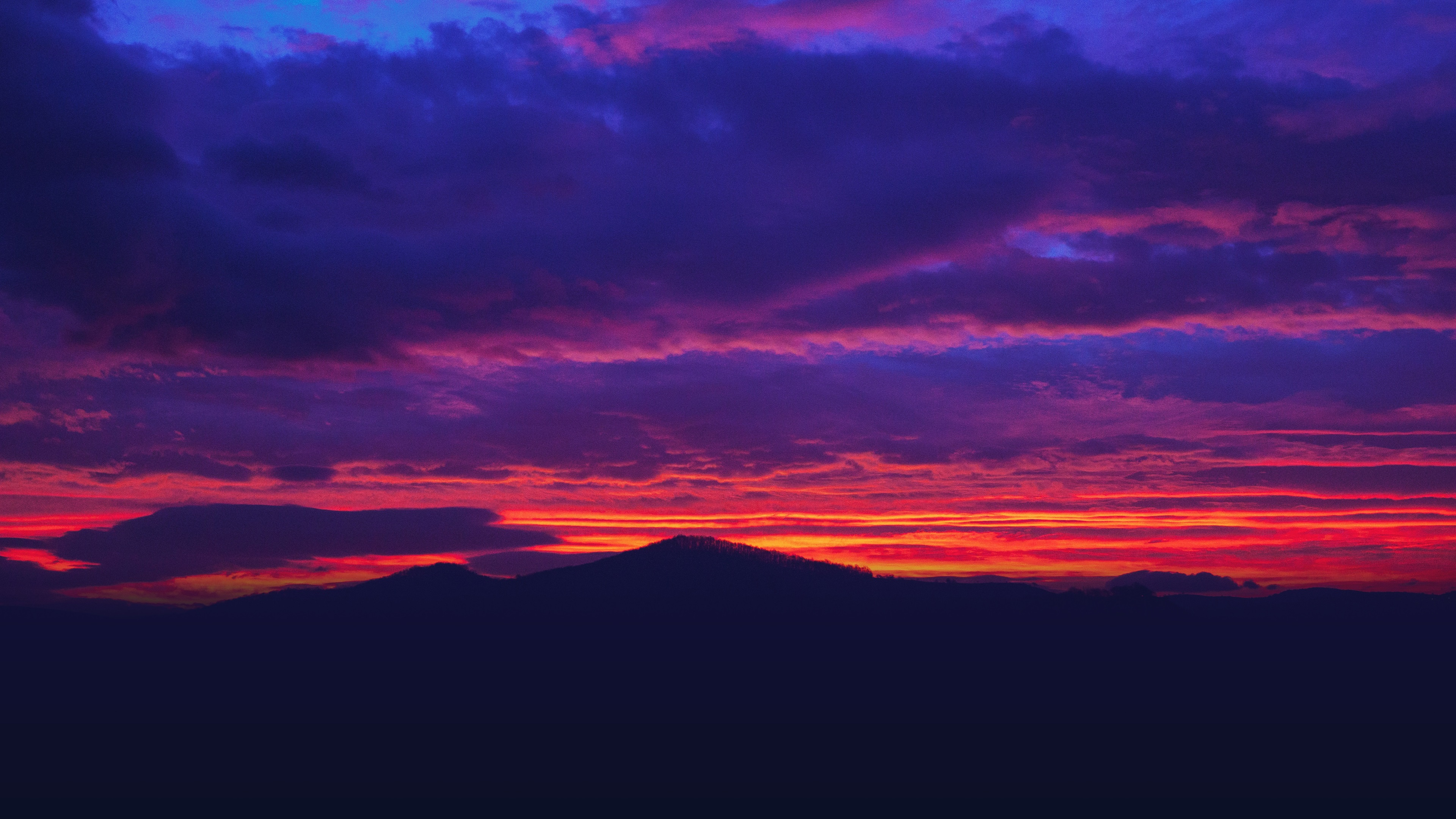 Beautiful Sunset Red Sky Clouds Mountains 1080x1920