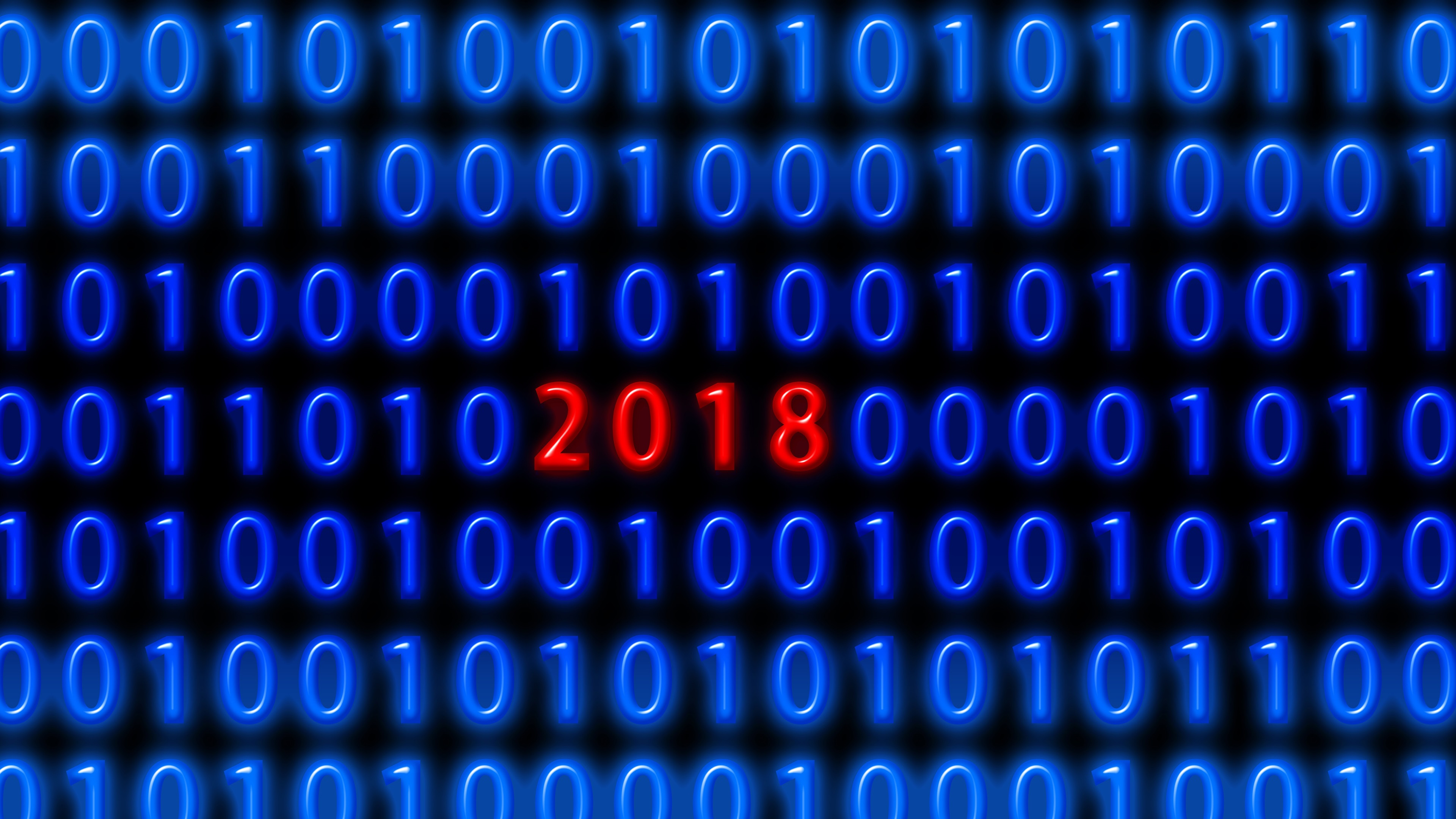 Wallpaper Blue Binary Code Red 2018 New Year 3840x2160 Uhd