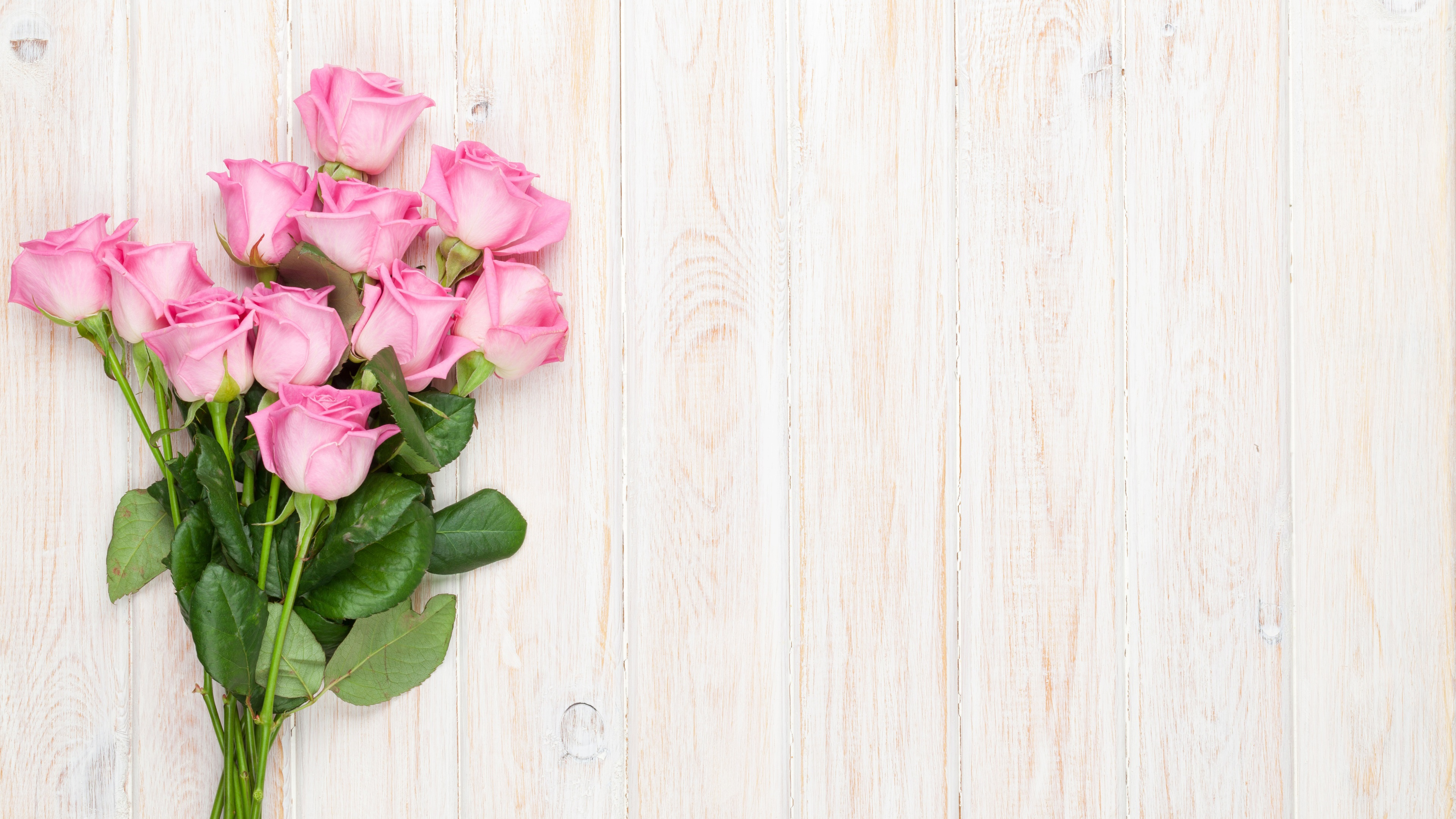 Wallpaper Bouquet Pink Flowers Roses Wood Background 3840x2160