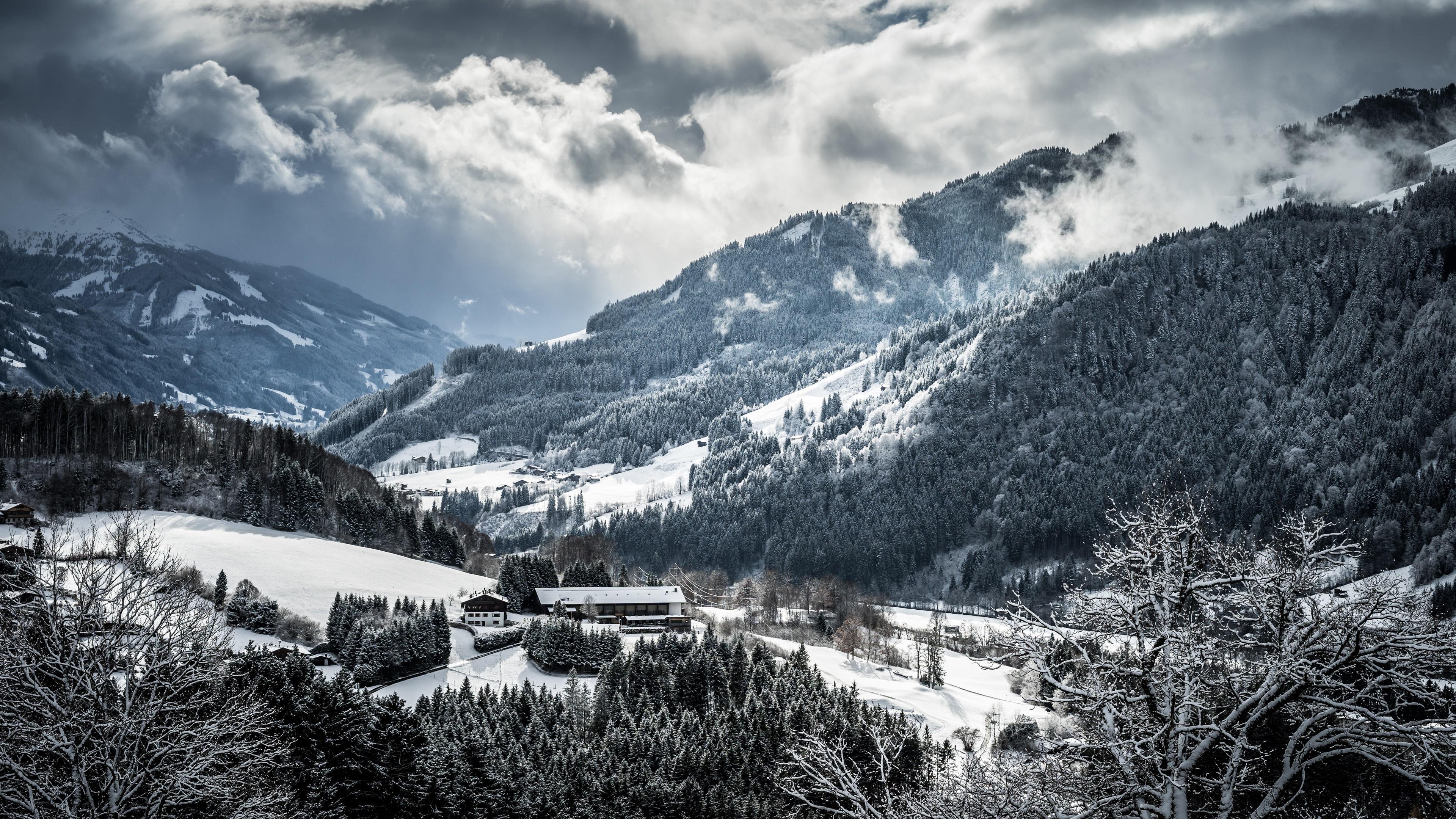 壁纸 冬天,山,树,雪,云,村庄 3840x2160 UHD 4K 高清壁纸, 图片, 照片
