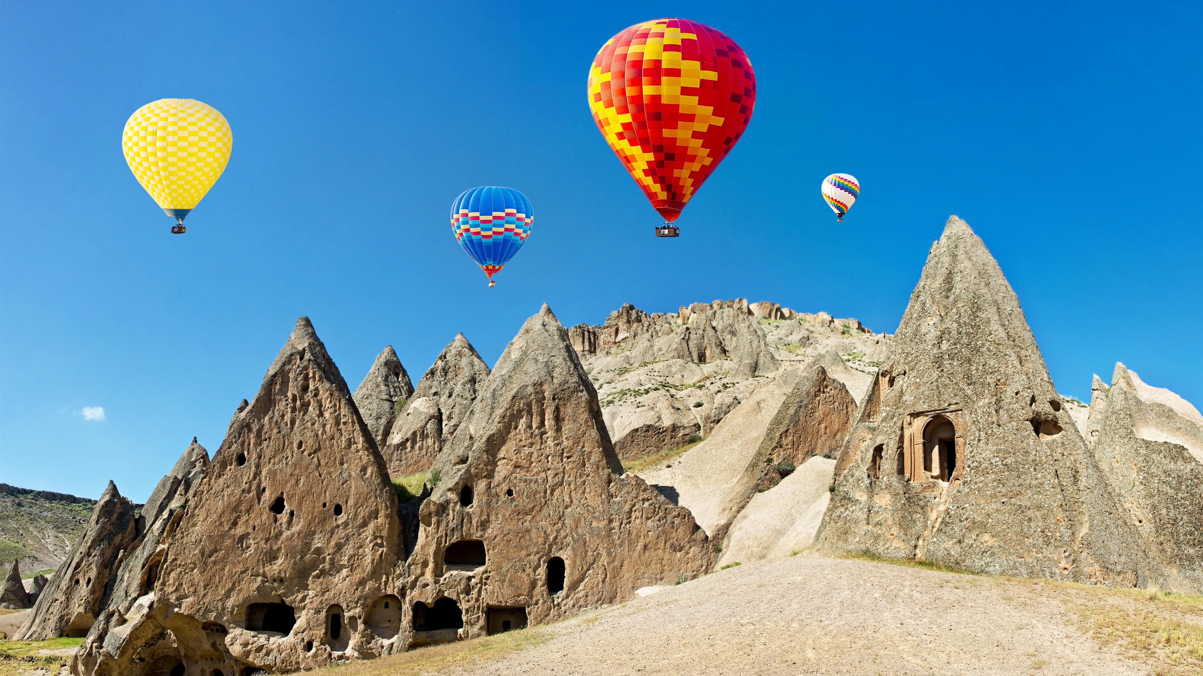 Wallpaper Hot Air Balloons Colorful Stones Turkey