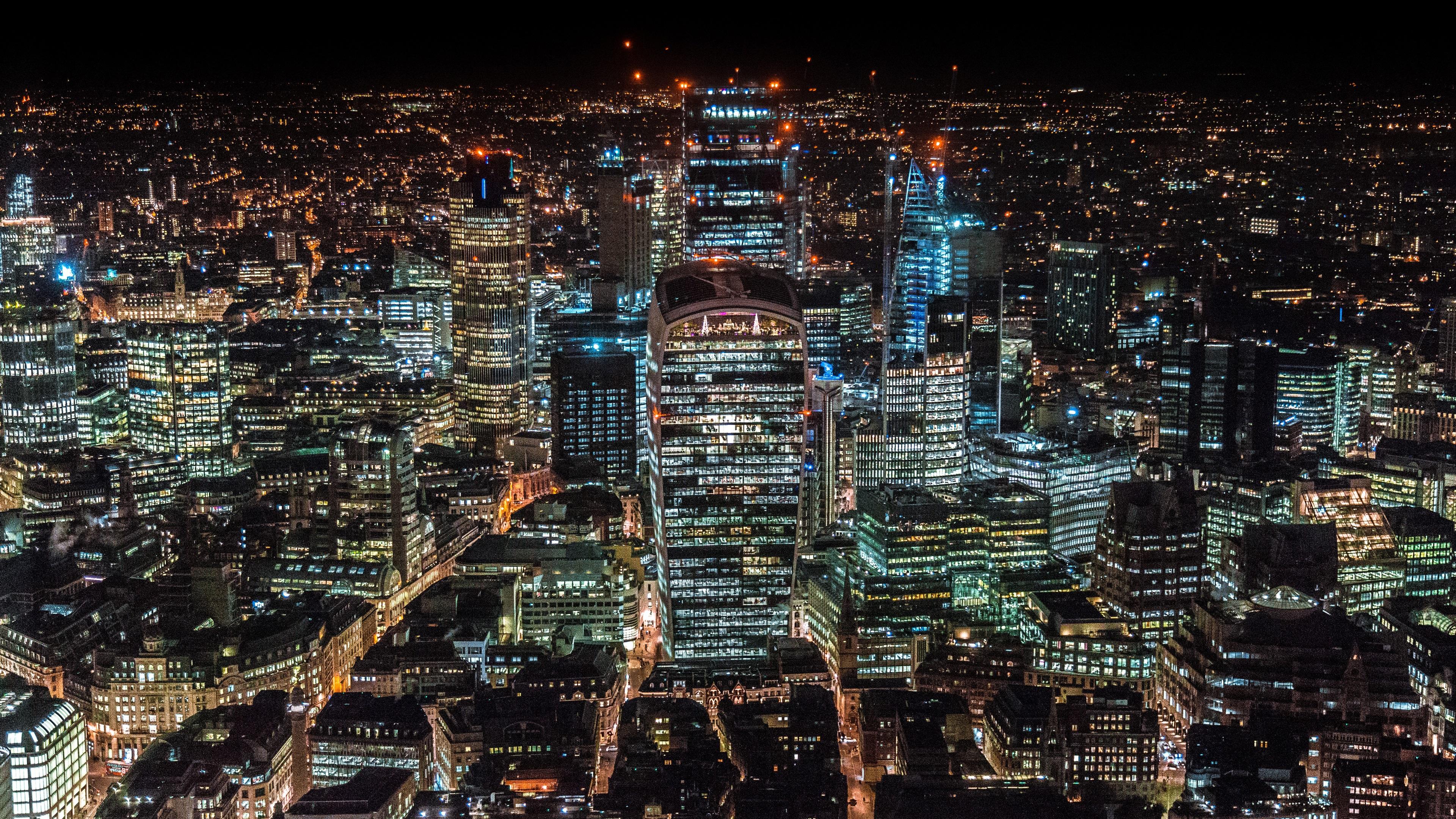 Wallpaper London United Kingdom Skyscrapers Night City