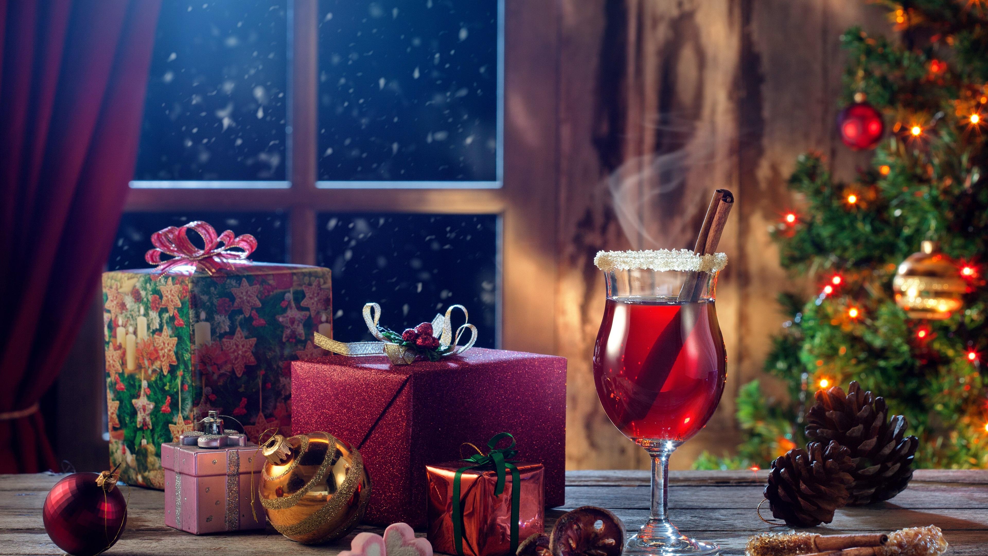 Fonds D écran Joyeux Noël Cadeaux Vin Boules Fenêtre