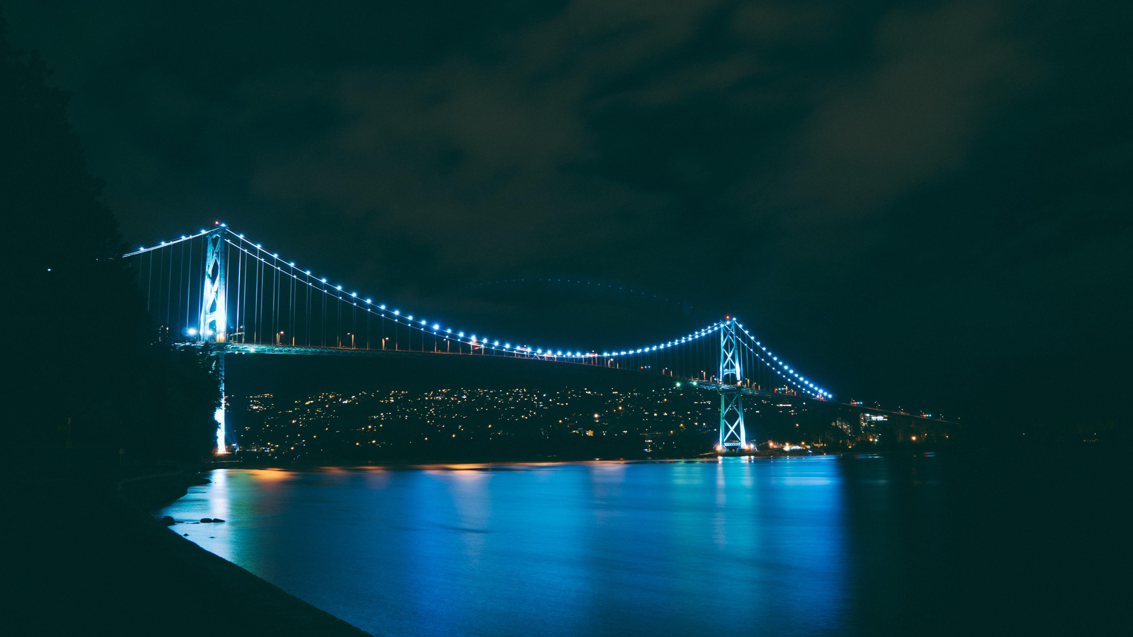 природа страны архитектура ночь река город мост  № 806708 без смс