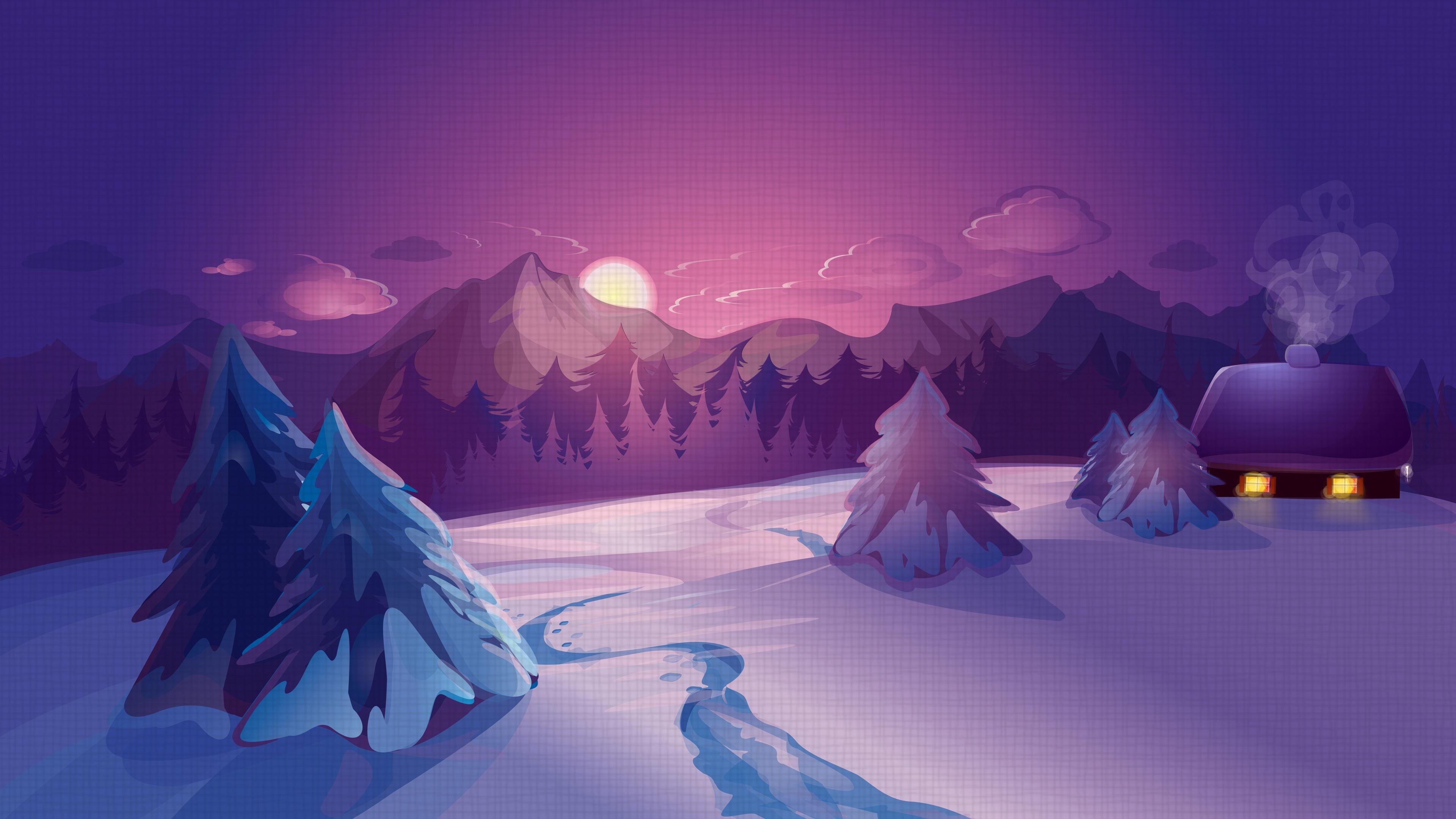 Fondos De Pantalla Imagen De Vector Invierno Nieve Cabaña