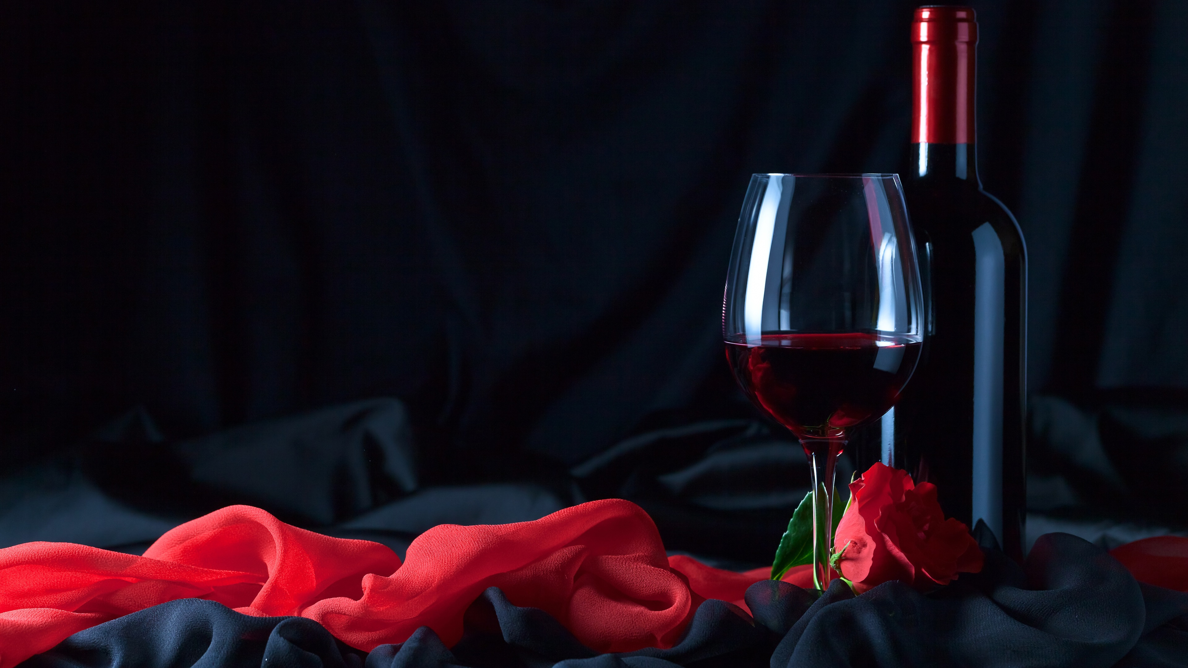 Wallpaper Wine Bottle Glass Cup Red Rose Cloth 3840x2160