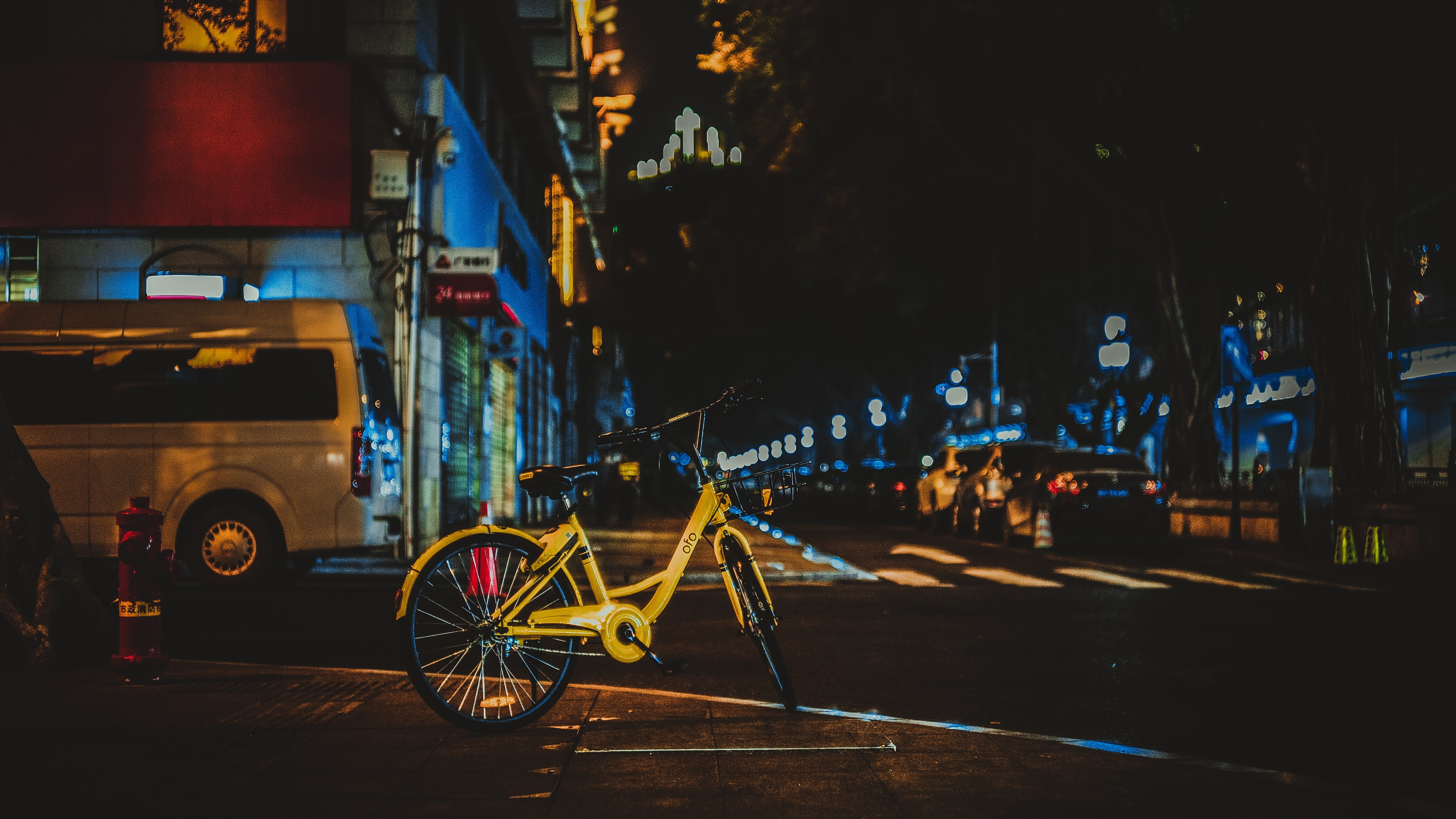 Wallpaper Yellow Bicycle City Night Street 3840x2160 Uhd