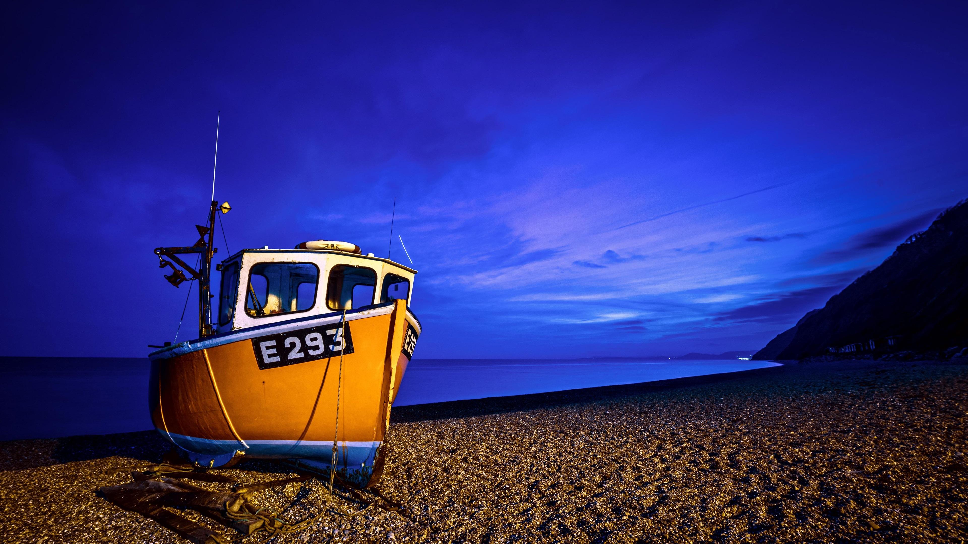 Wallpaper Boat Sea Coast Blue Night 3840x2160 UHD 4K Picture Image