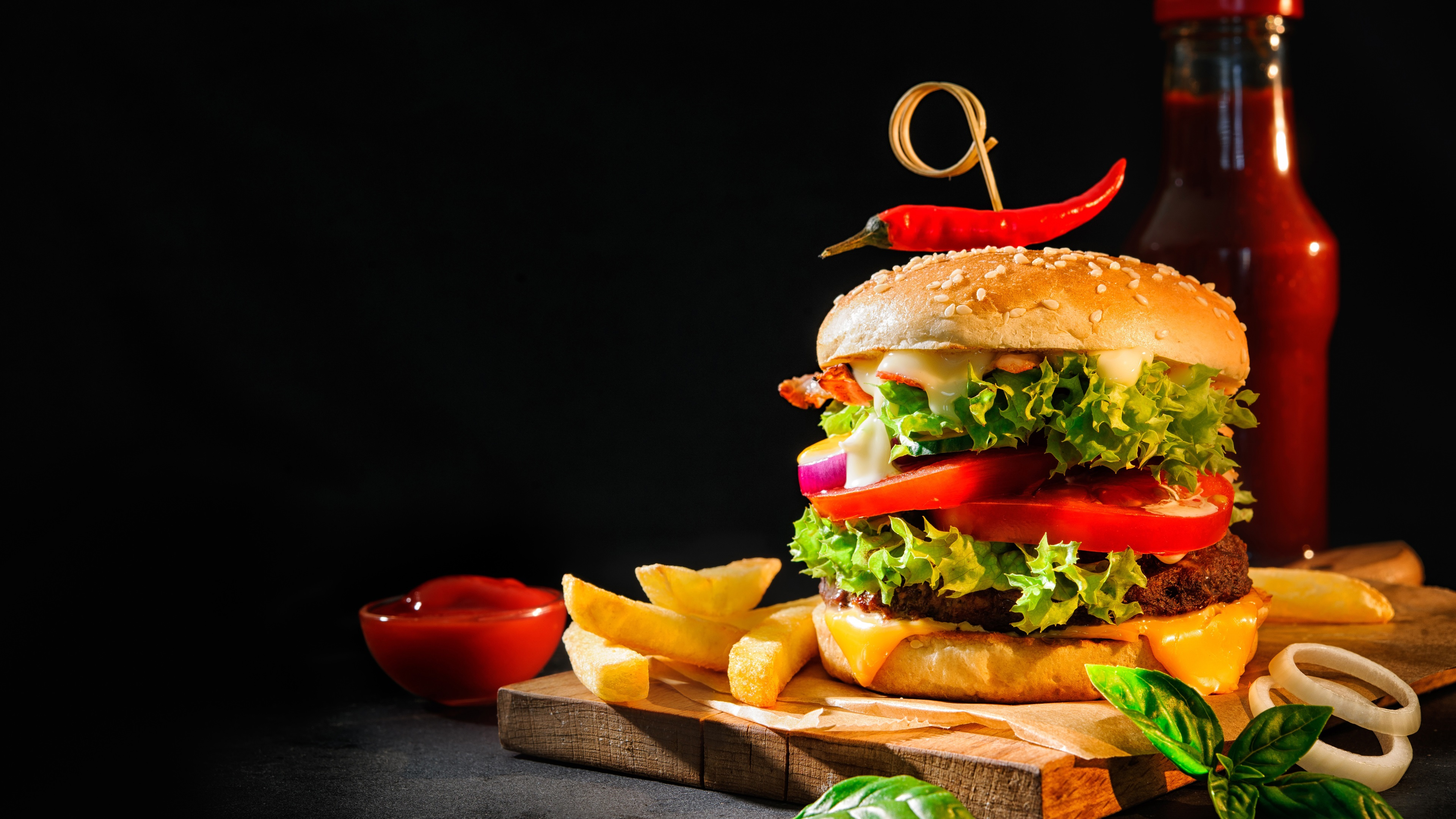 Fondos De Pantalla Hamburguesa, Ketchup, Papas Fritas