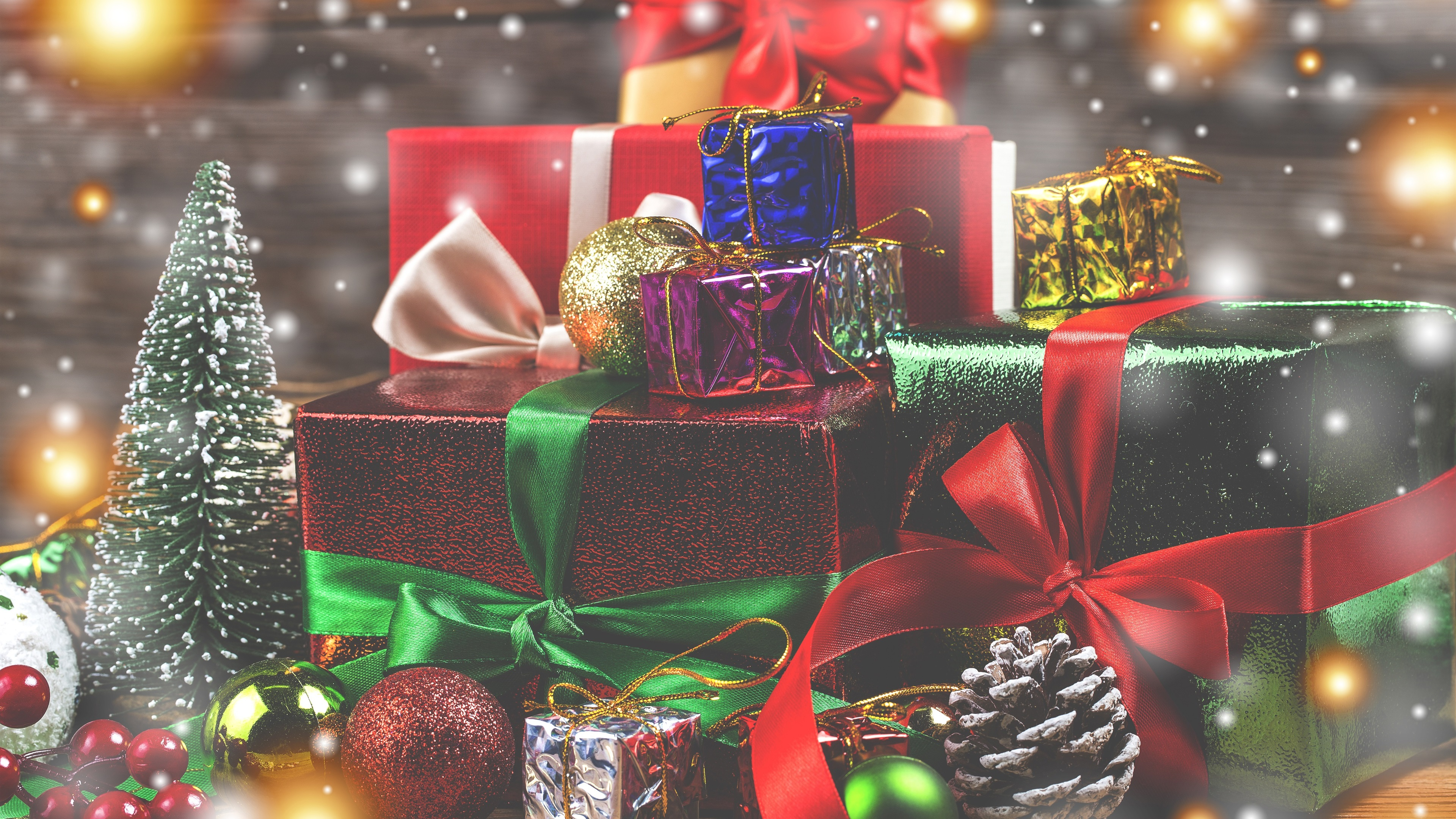Wallpaper Lot Of Gifts Balls Christmas 3840x2160 Uhd 4k Picture Image