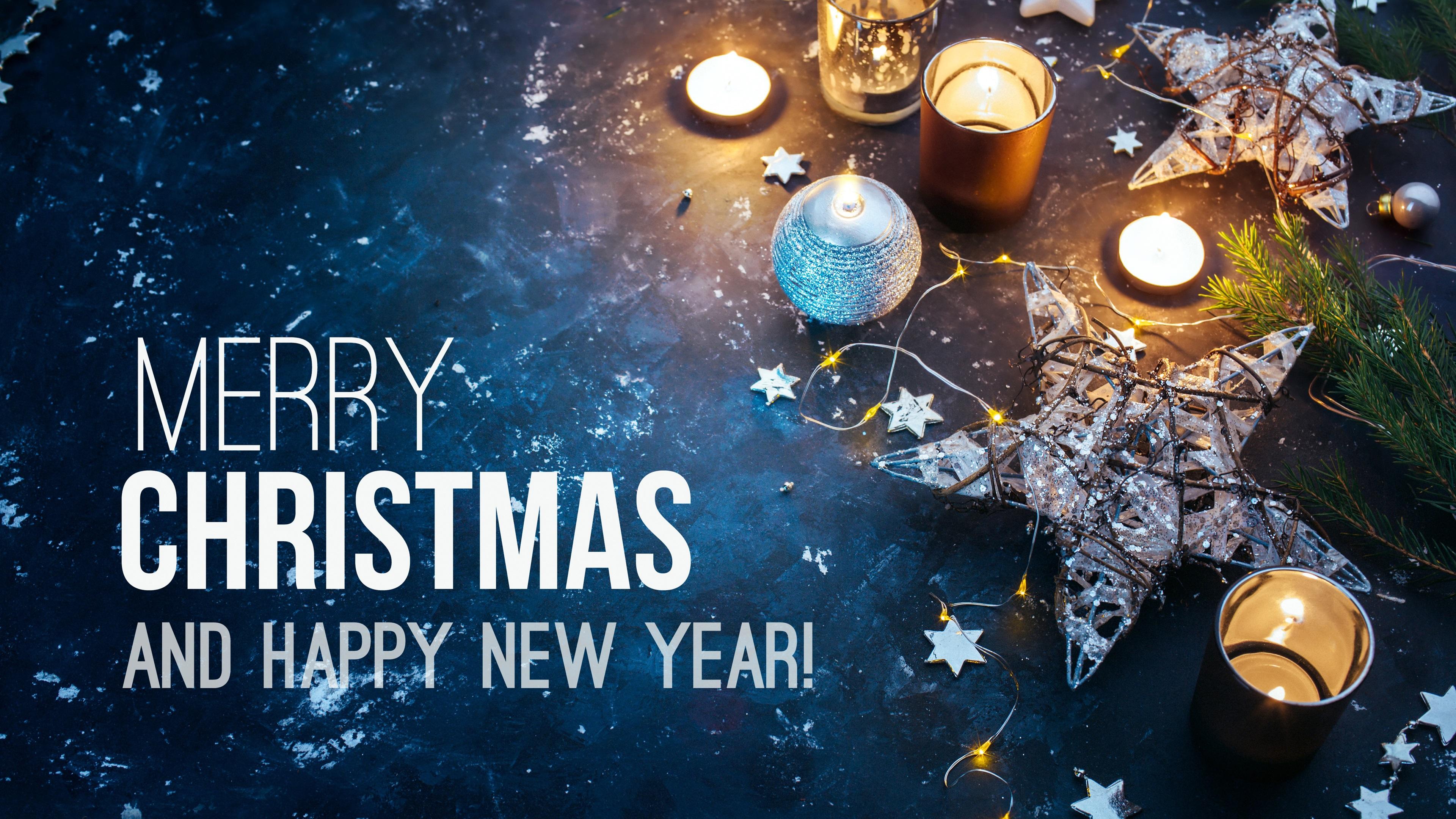 Fonds Décran Joyeux Noël Et Bonne Année Bougies étoiles