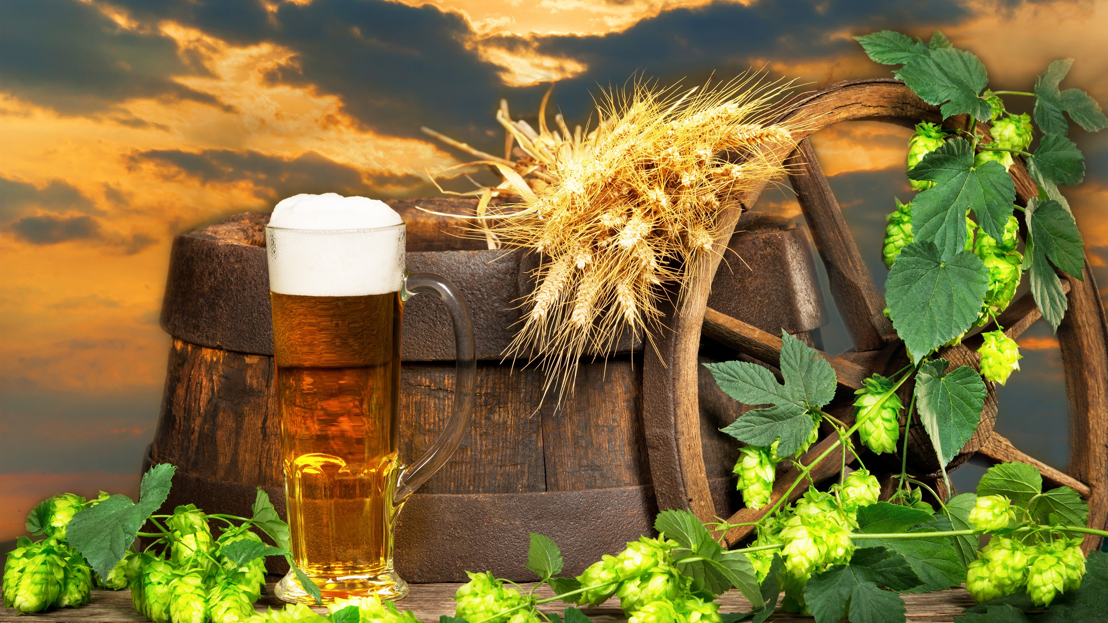 Wallpaper Beer Barrel Hops Foam 3840x2160 Uhd 4k Picture Image