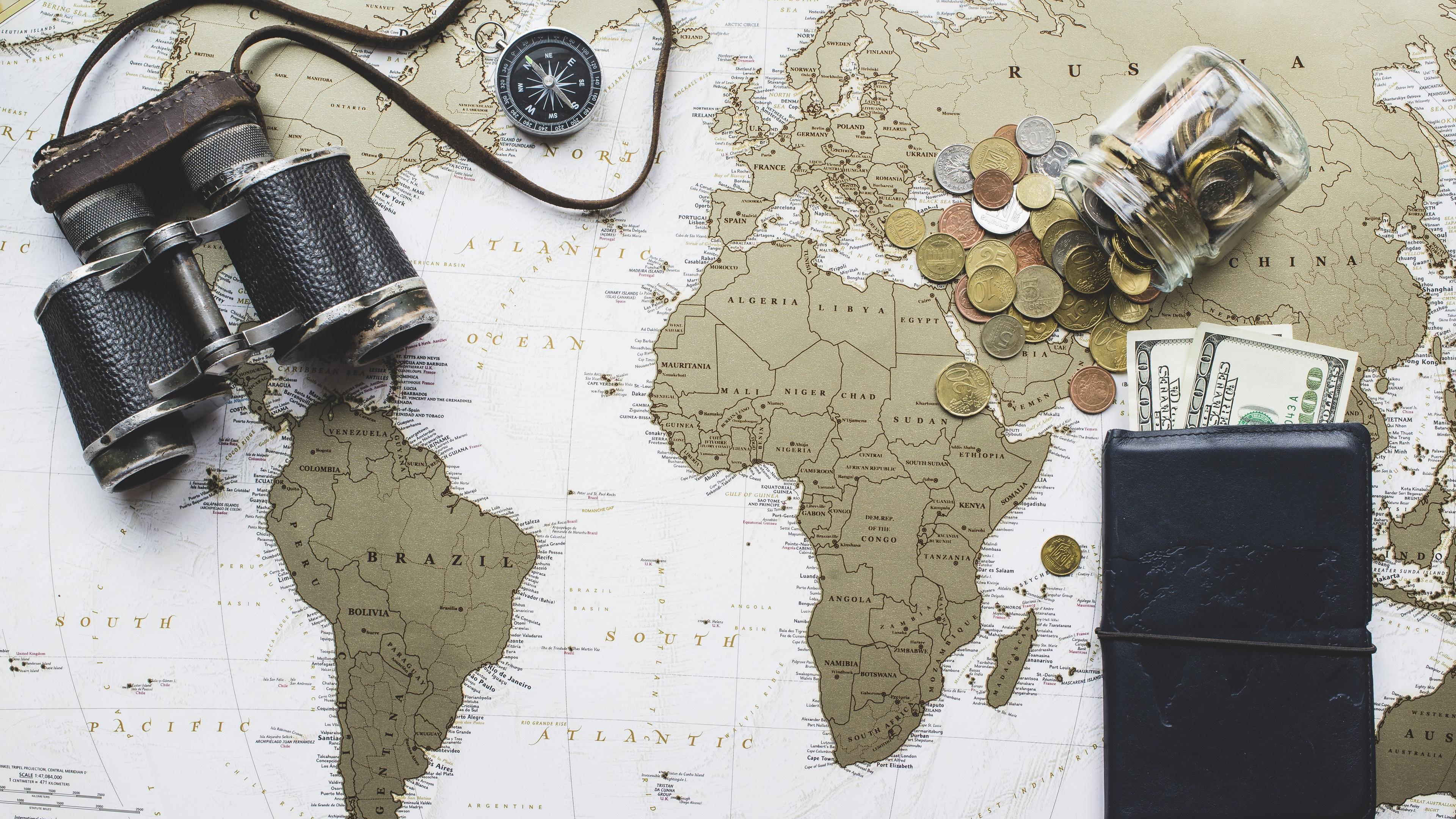 Wallpaper Binoculars World Map Purse Dollars 3840x2160 Uhd 4k