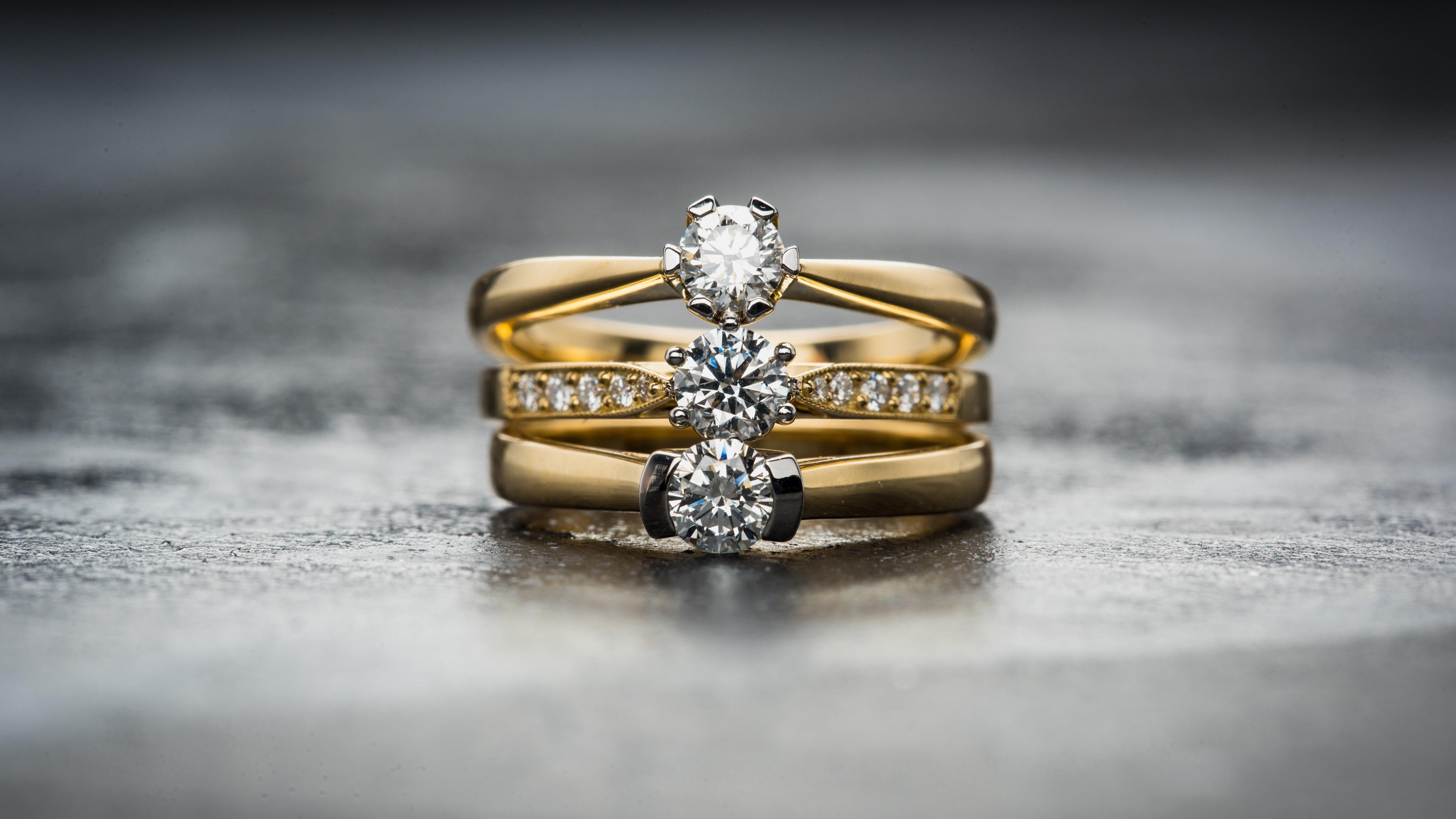 Fondos De Pantalla Anillos De Diamantes, Oro 3840x2160 UHD