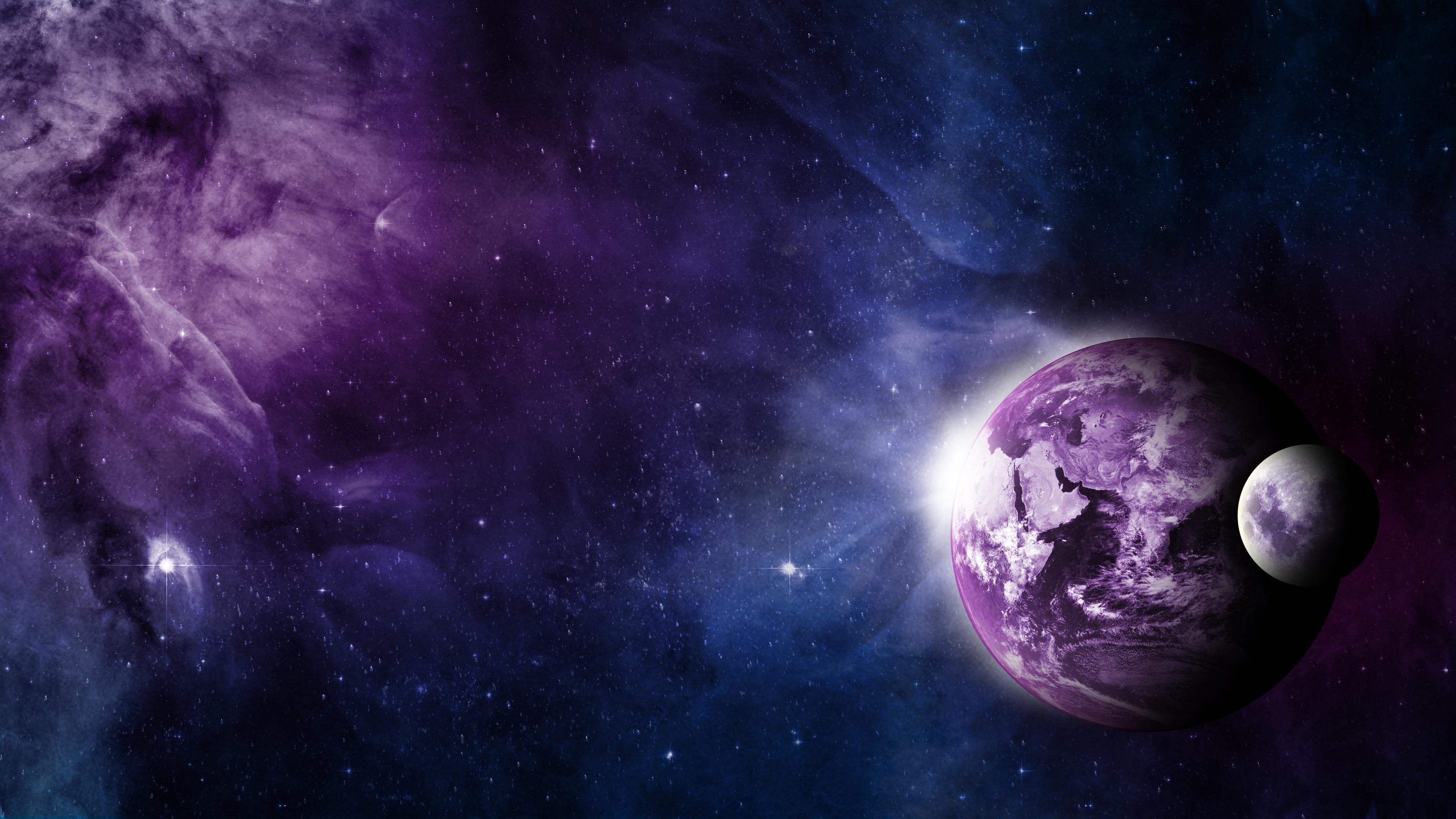 wallpaper earth, moon, universe, purple style 3840x2160 uhd 4k