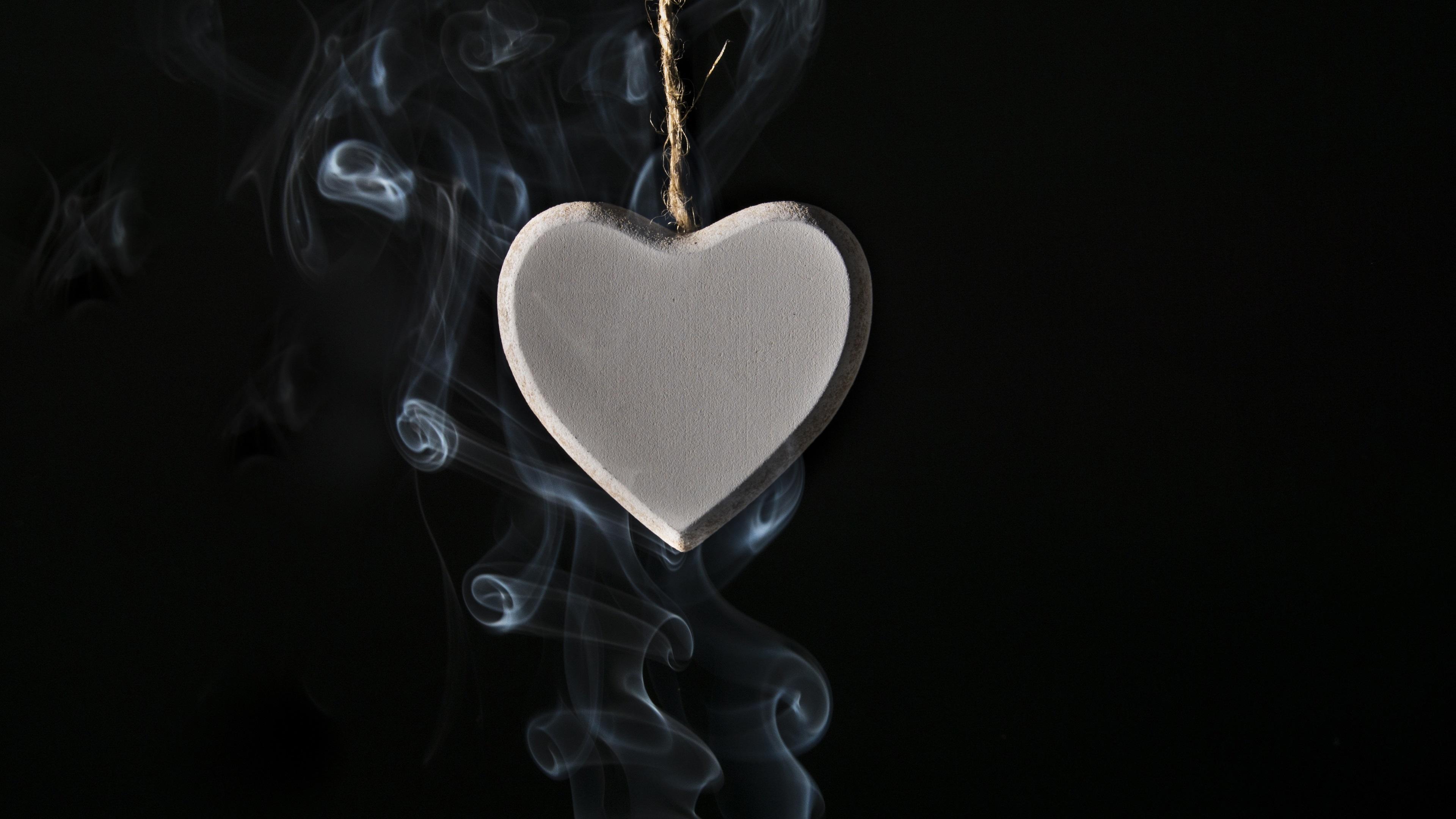 Love Wallpaper Uhd : Download Wallpaper 3840x2160 Love heart pendant, smoke, black background UHD 4K Background