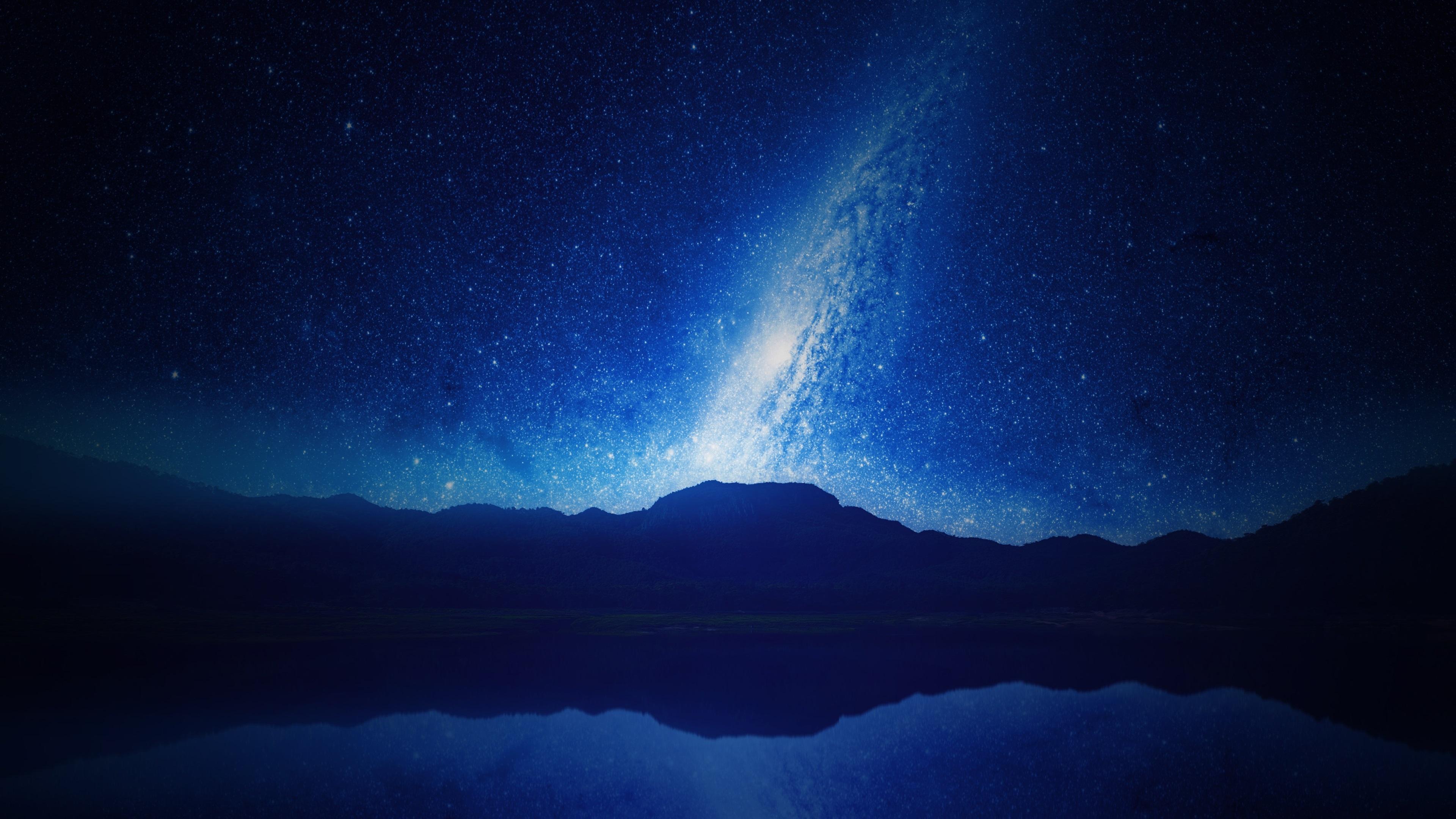 Download wallpaper 3840x2160 night mountains lake - Starry sky 4k ...
