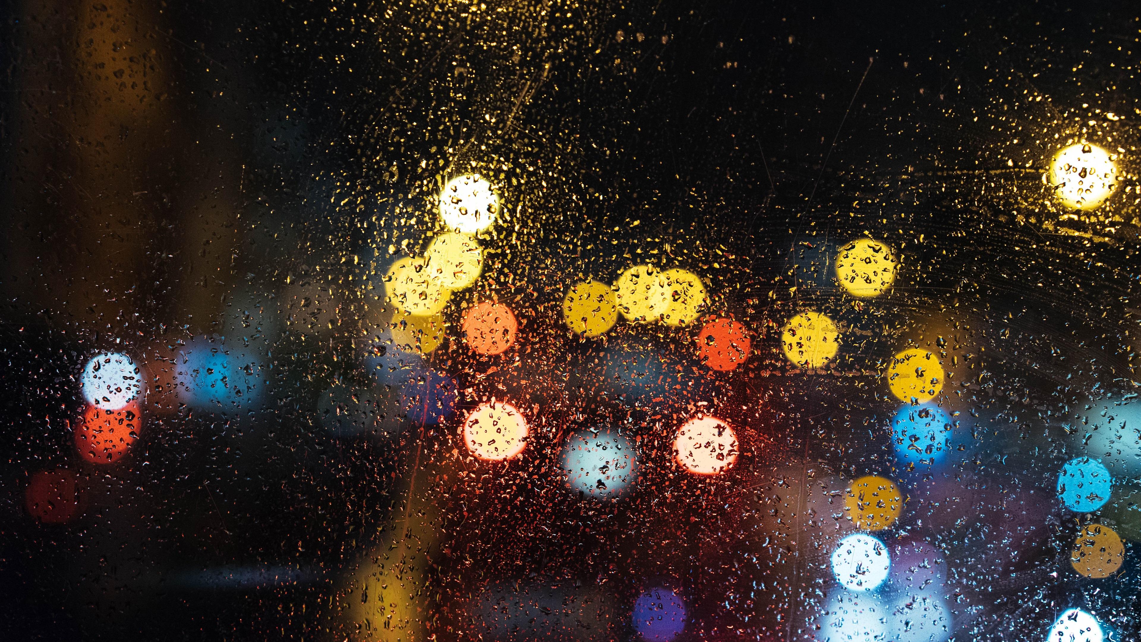 壁紙 雨の日、夜、ガラス、水滴、ライトサークル 3840x2160 Uhd 4k 無料のデスクトップの背景 画像