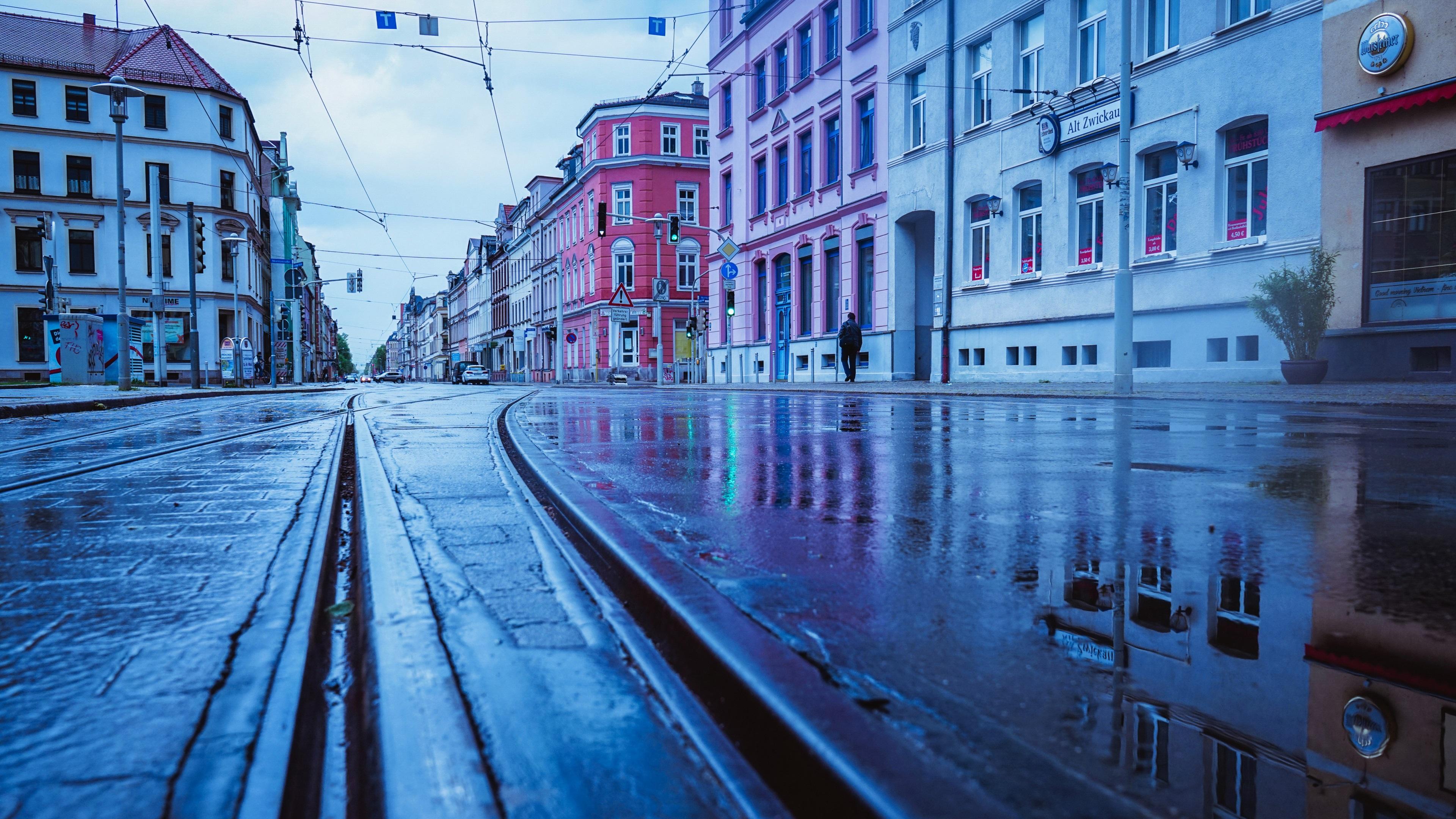 Wallpaper Germany, rainy day, city, street, wet ground ...