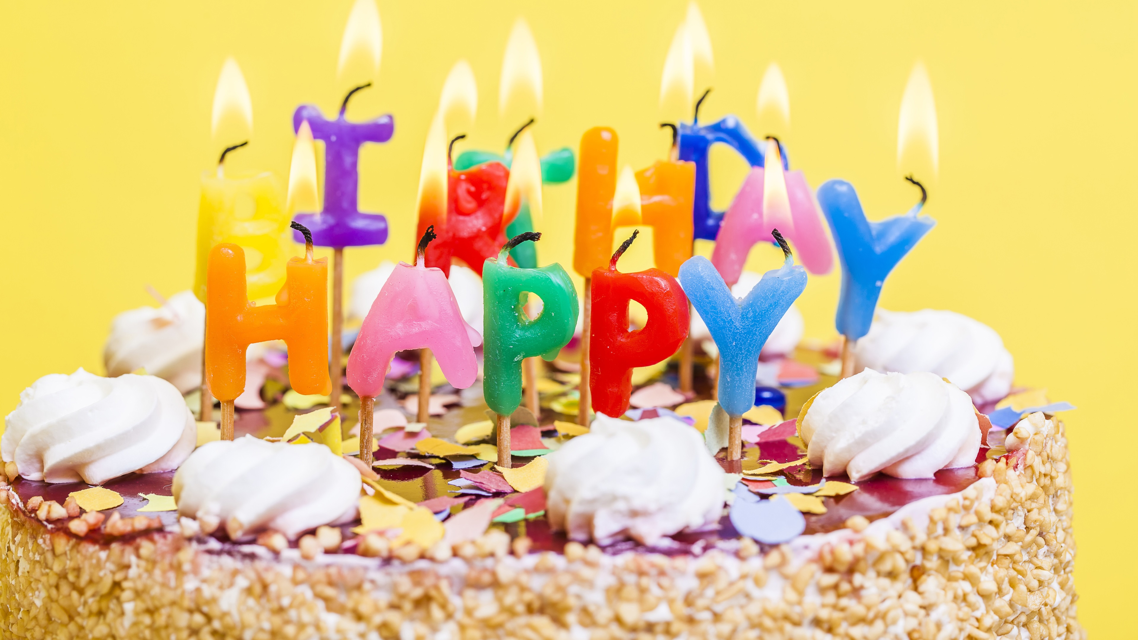 Fine Wallpaper Happy Birthday Cake Candles Cream 3840X2160 Uhd 4K Funny Birthday Cards Online Inifofree Goldxyz