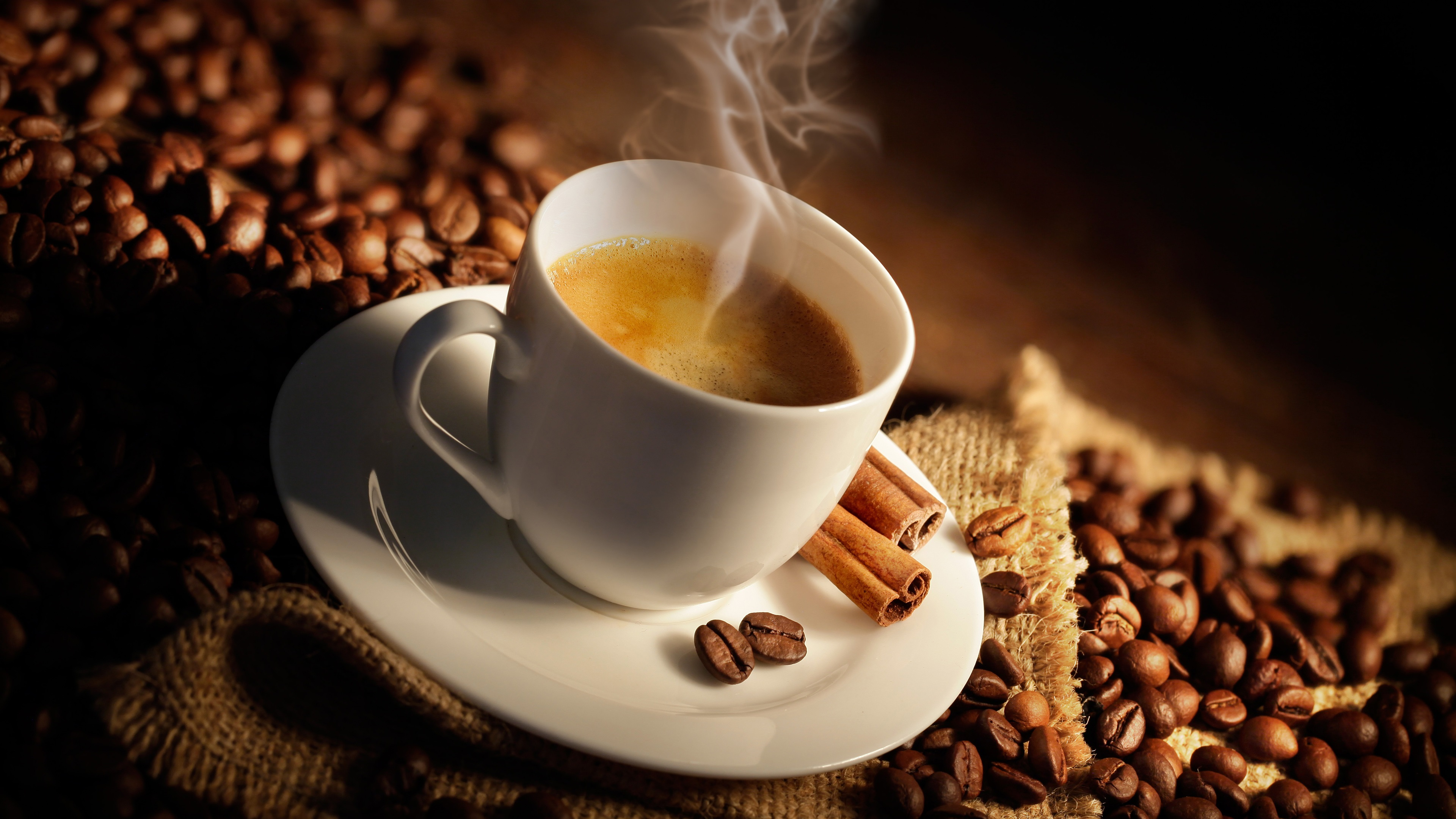 Wallpaper One Cup Coffee Steam Coffee Beans Cinnamon 3840x2160 Uhd 4k Picture Image