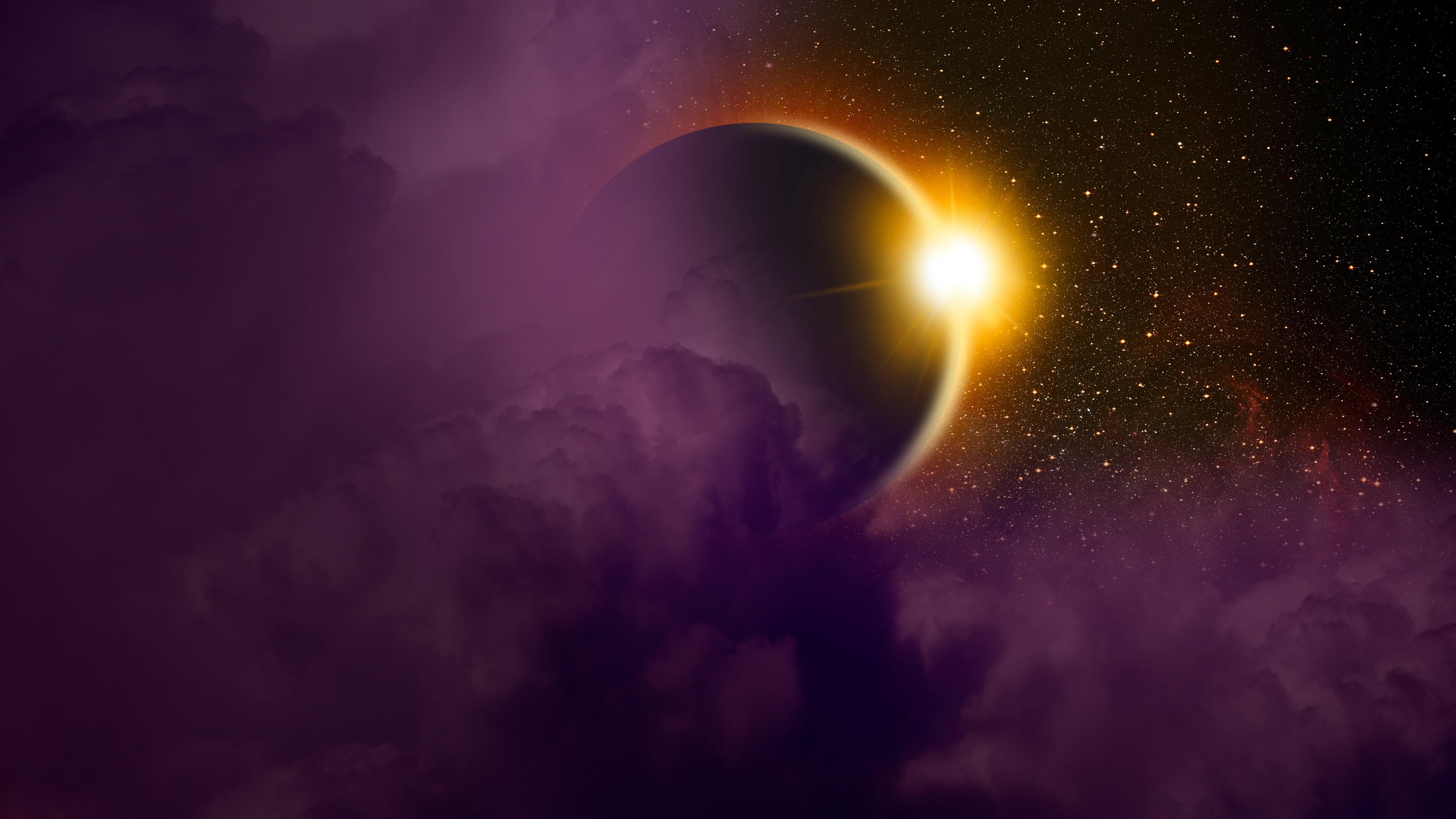 Wallpaper Solar Eclipse Planet Light Space 3840x2160 Uhd 4k