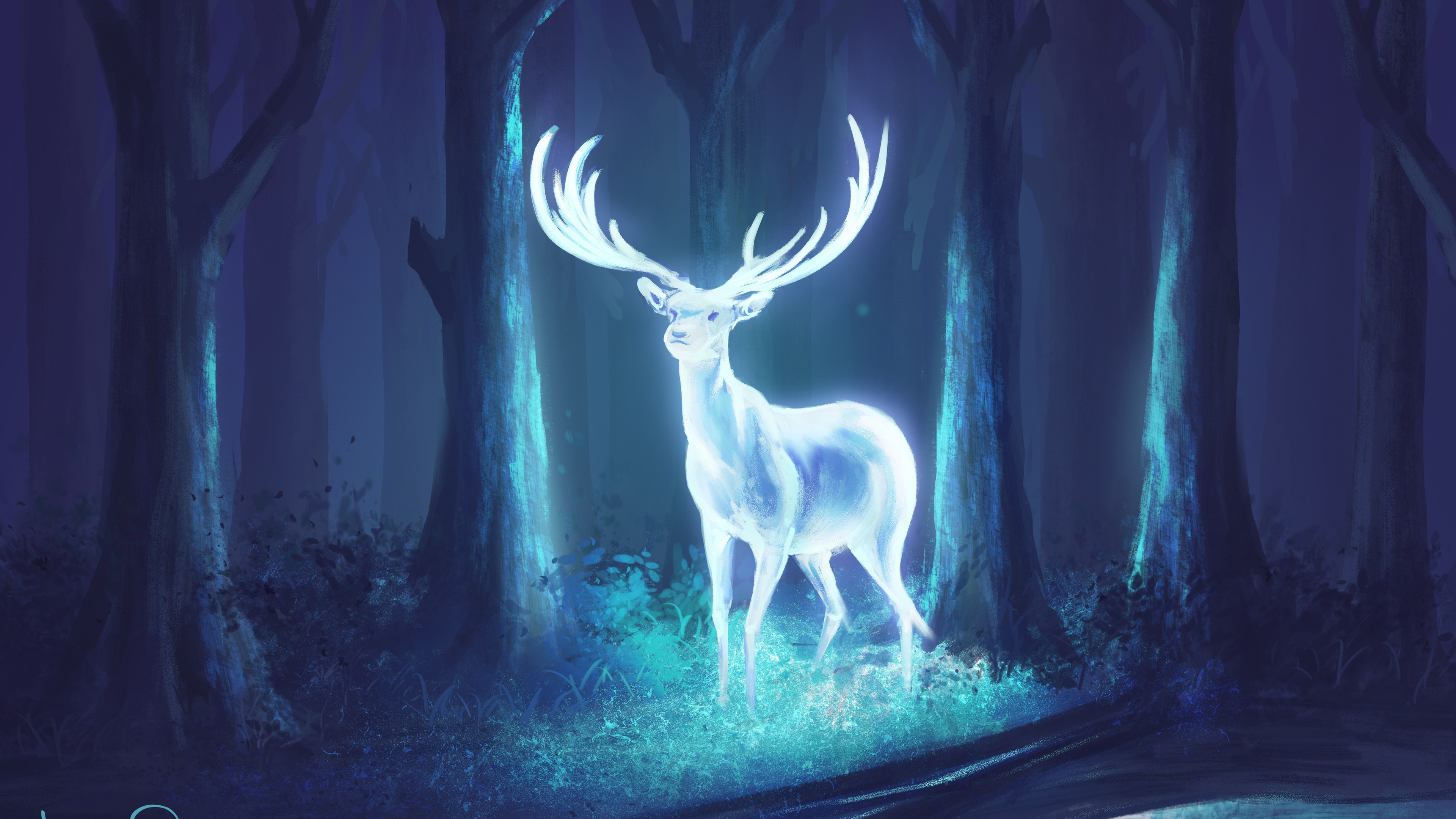 Wallpaper Bright Deer In The Forest Art Drawing 3840x2160 Uhd 4k Picture Image