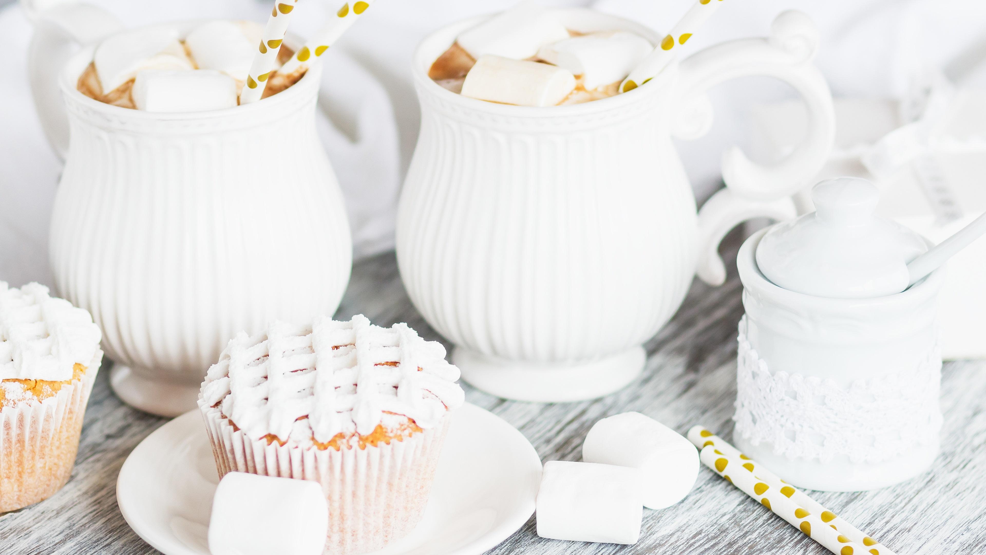 壁紙 カップケーキ 飲み物 マシュマロ ココア 白いケトル