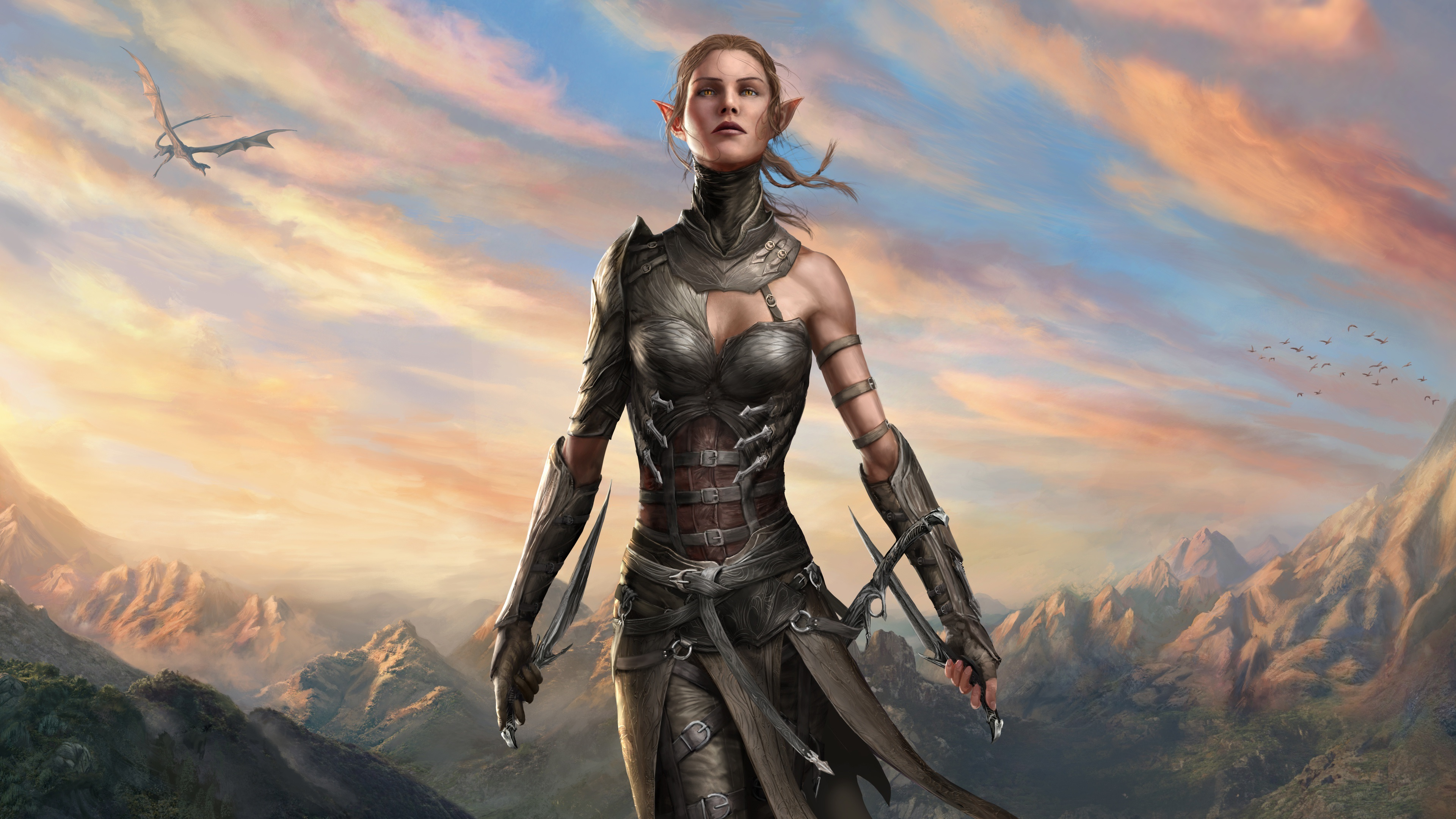 Wallpaper Divinity Original Sin 2 Elf Girl Warrior 3840x2160