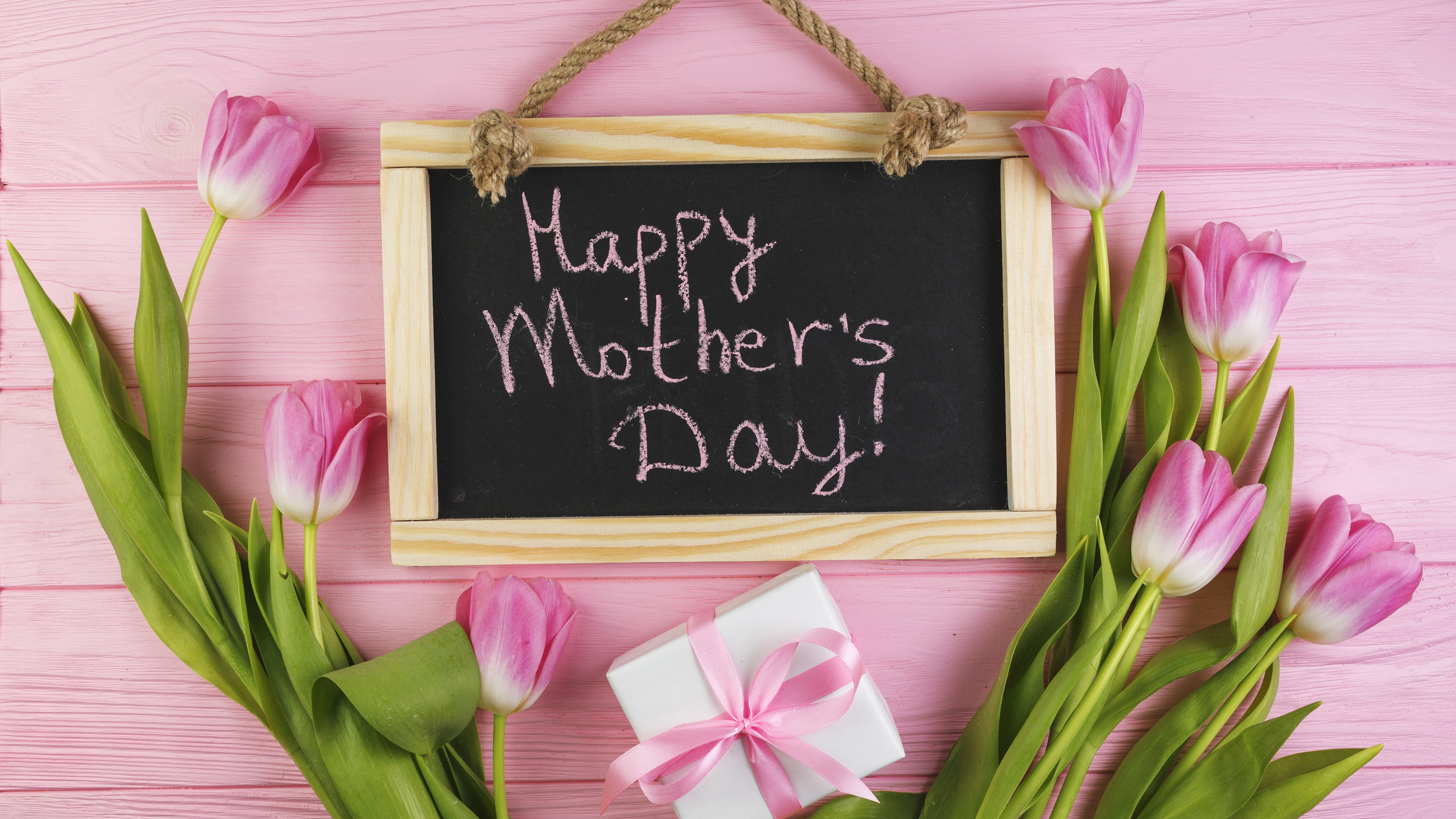 Wallpaper Happy Mother's Day, pink tulips, gift 3840x2160 ...