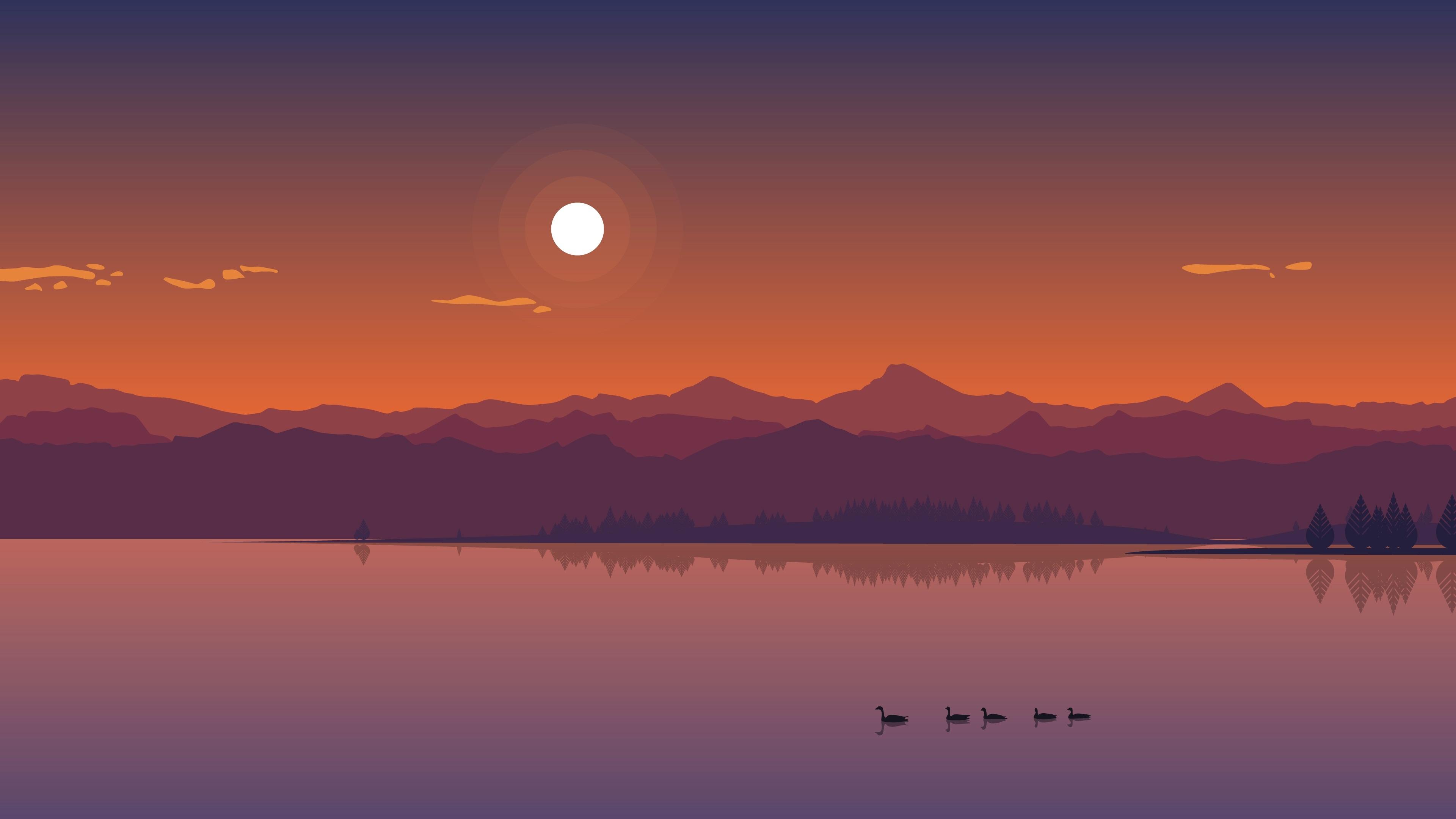Wallpaper River Mountains Ducks Sun Dusk Vector Art Picture 3840x2160 Uhd 4k Picture Image
