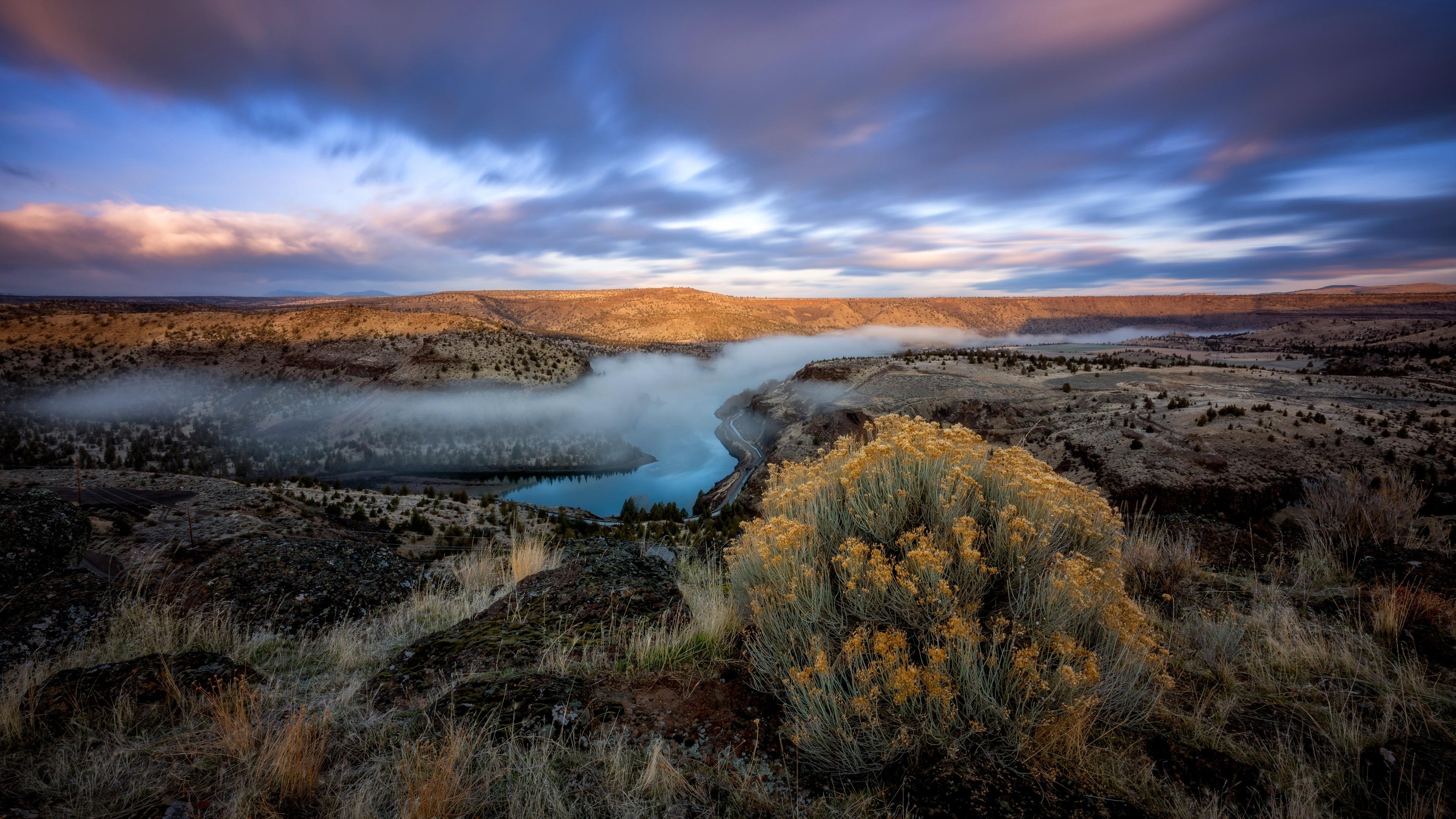 壁紙 川 山 木々 霧 朝 自然の風景 3840x2160 Uhd 4k 無料のデスクトップの背景 画像