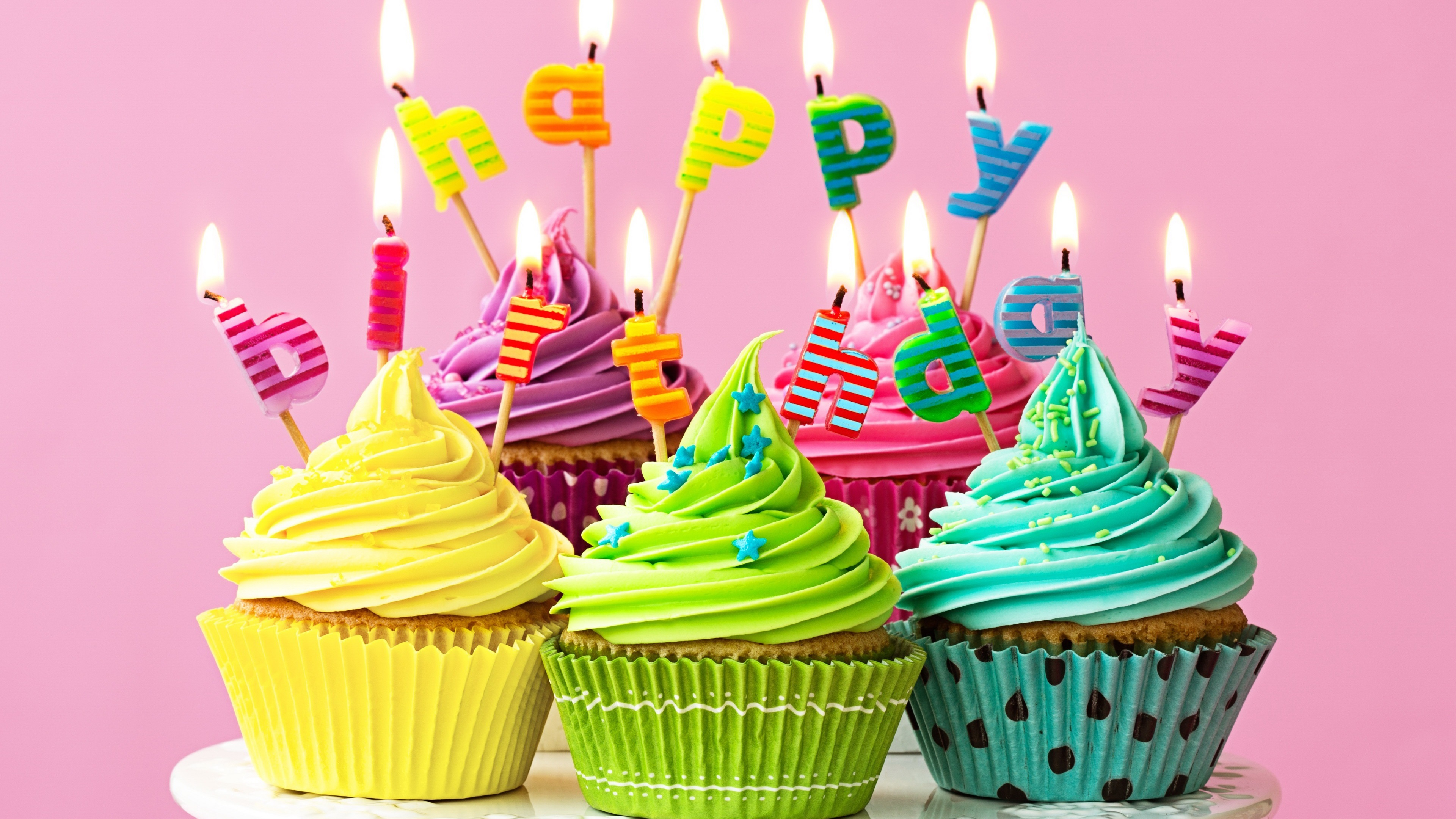 Wallpaper Happy Birthday Candles Fire Colorful Cupcakes 3840x2160
