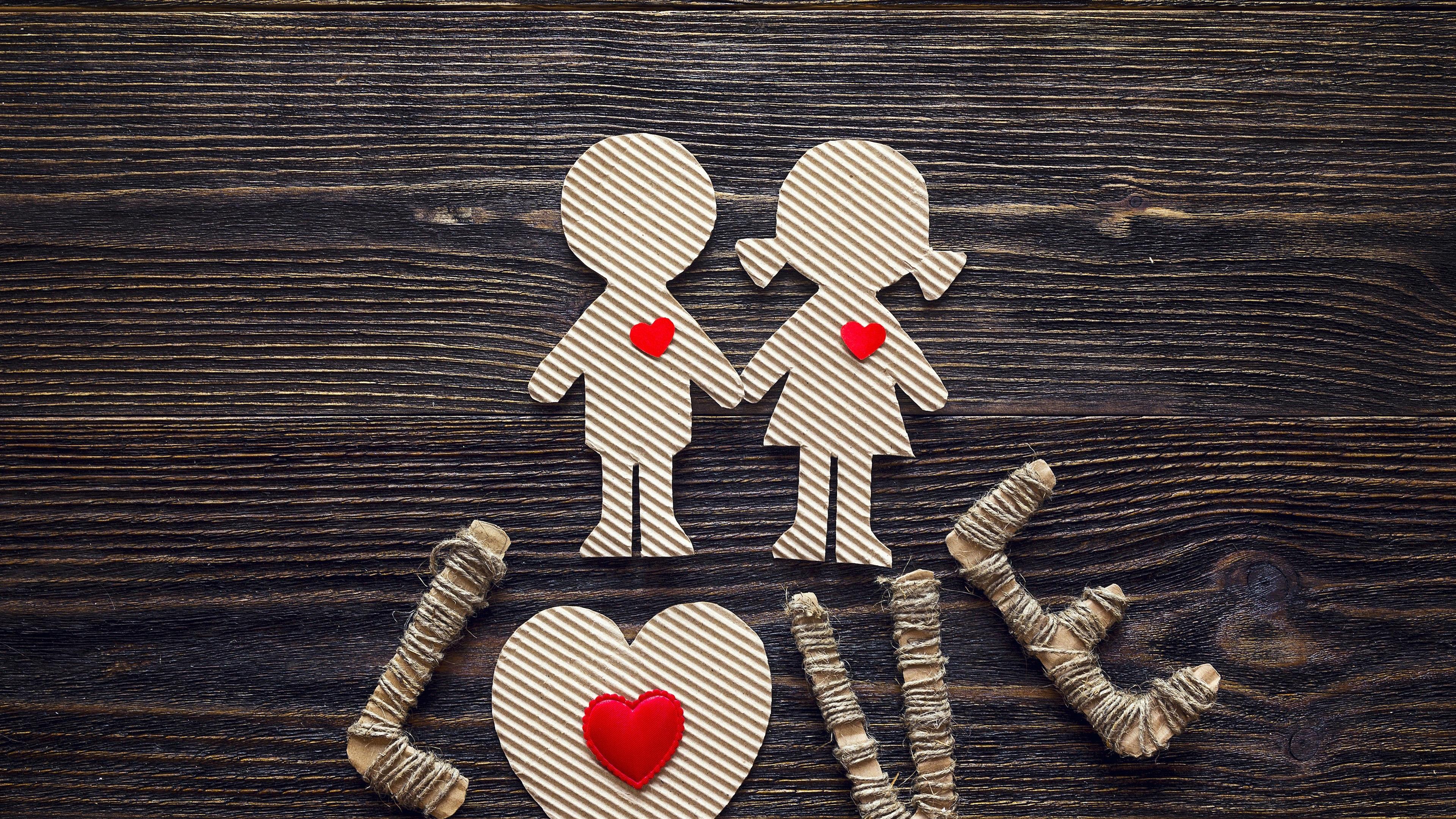 Wallpaper Love Girl And Boy Paper Art 3840x2160 Uhd 4k