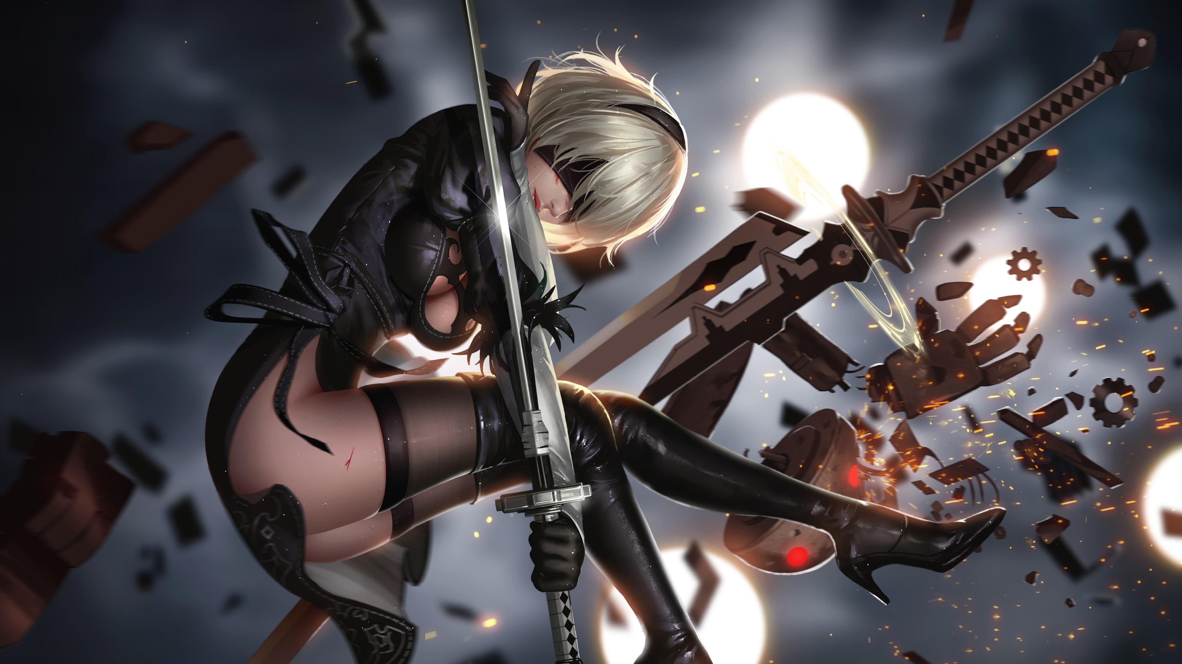 2b Nier Automata Katana Hd 4k Wallpaper: Wallpaper Nier: Automata, Girl, Sword, Fight 3840x2160 UHD