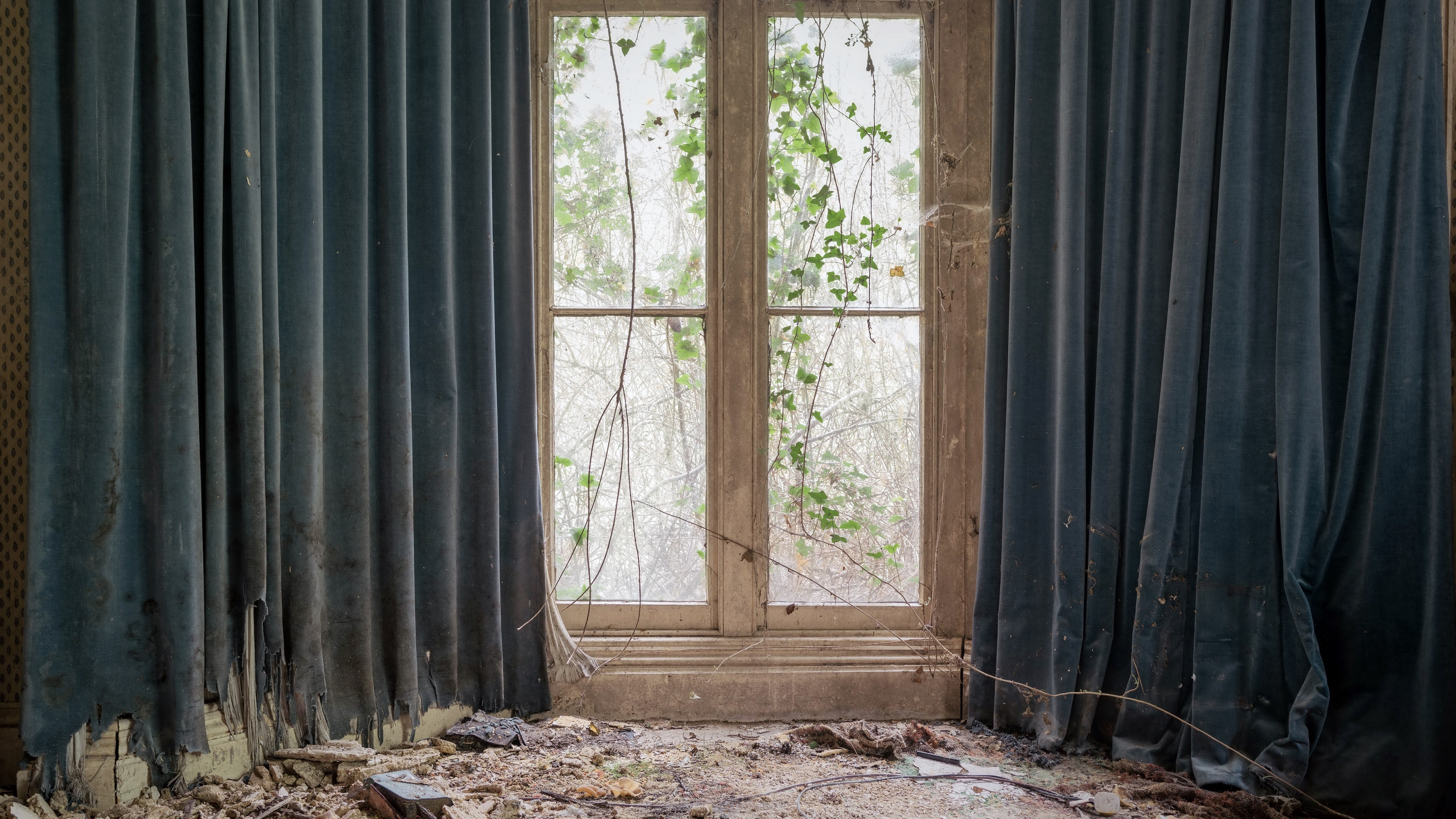 wallpaper room window curtain ruins 3840x2160 uhd 4k