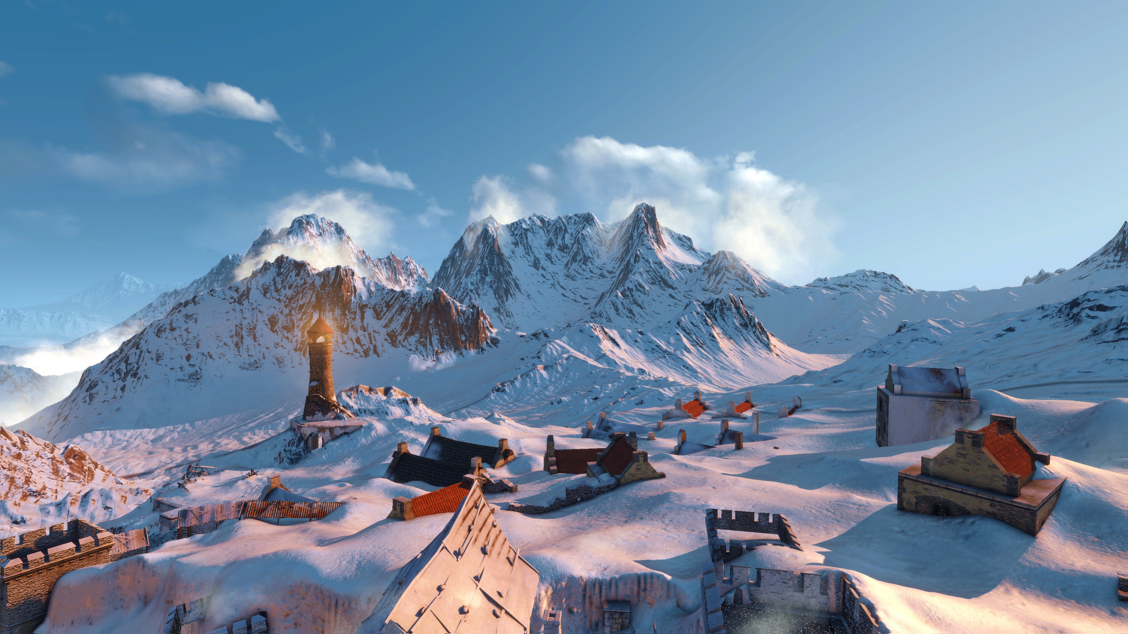 Wallpaper The Witcher 3 Wild Hunt Mountains Snow Houses
