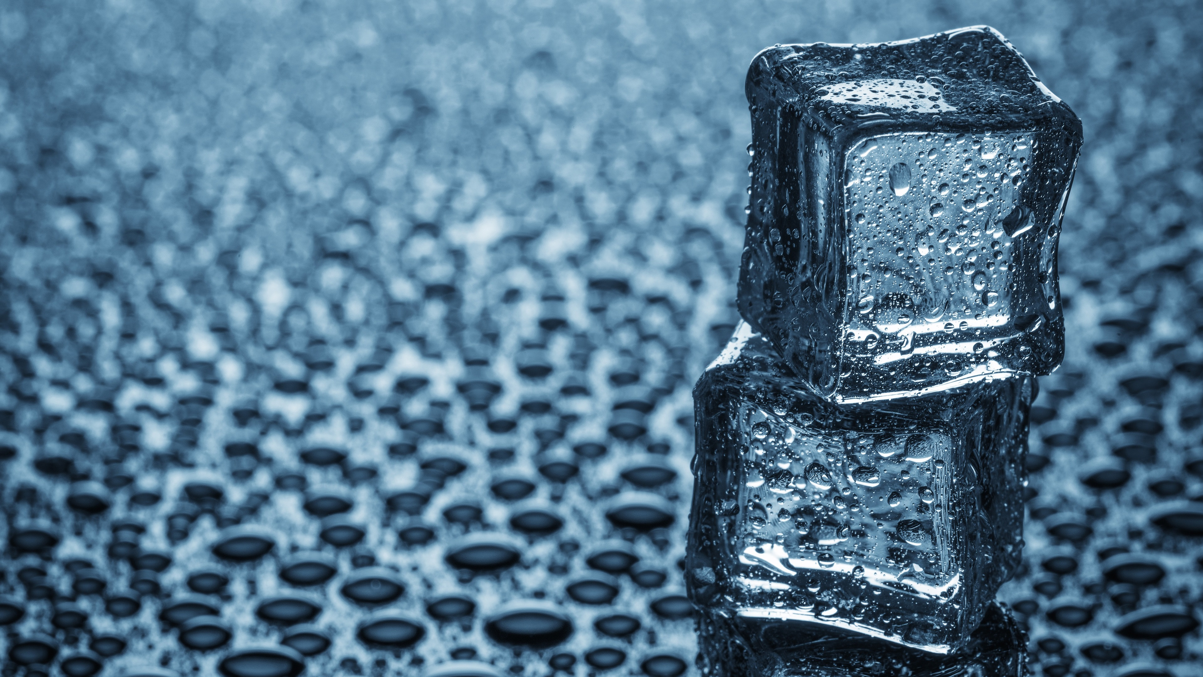 Wallpaper Two Ice Cubes Water Drops 3840x2160 UHD 4K Picture Image