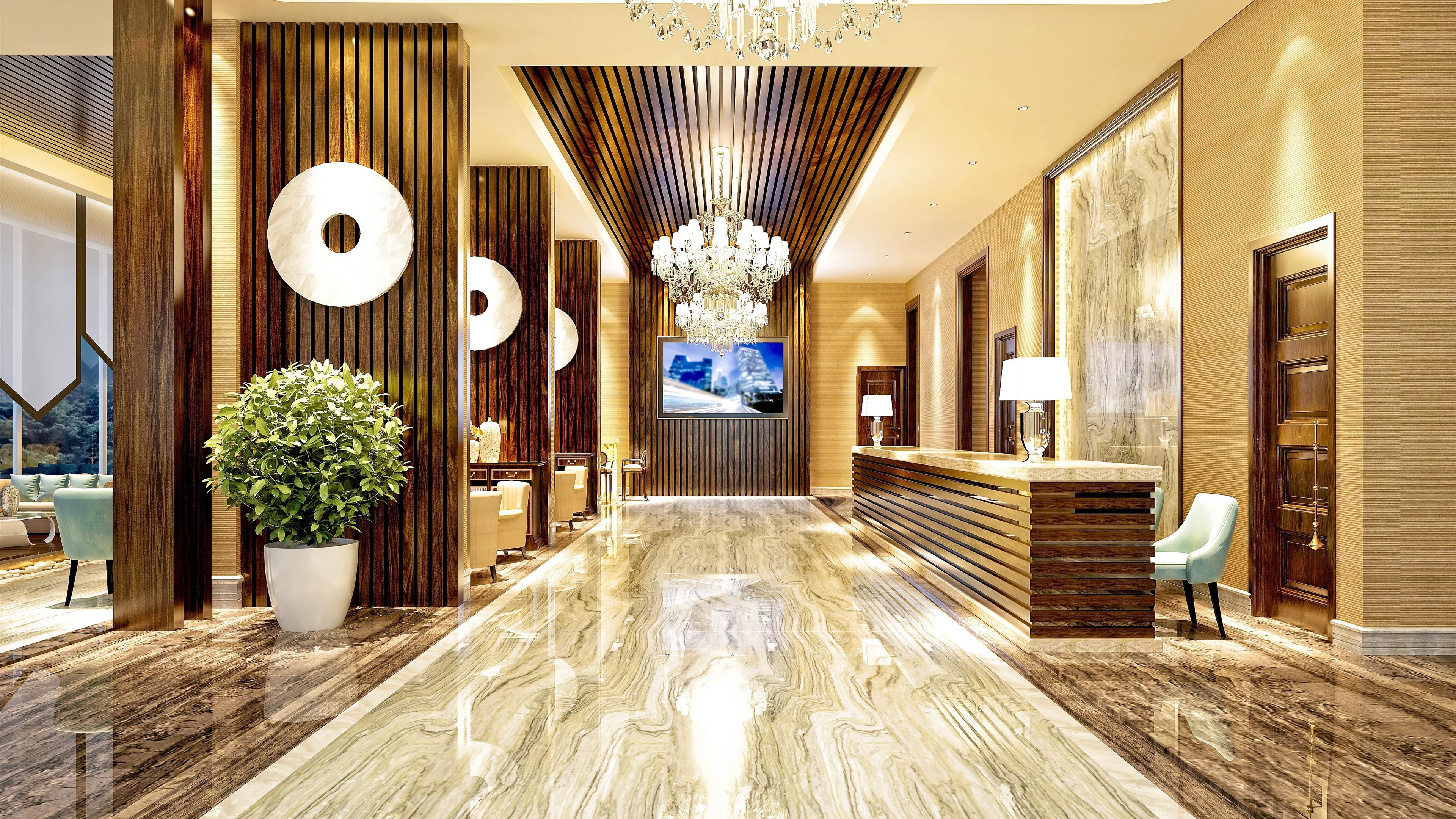 Wallpaper Hotel Hall Furniture Interior 3840x2160 Uhd 4k
