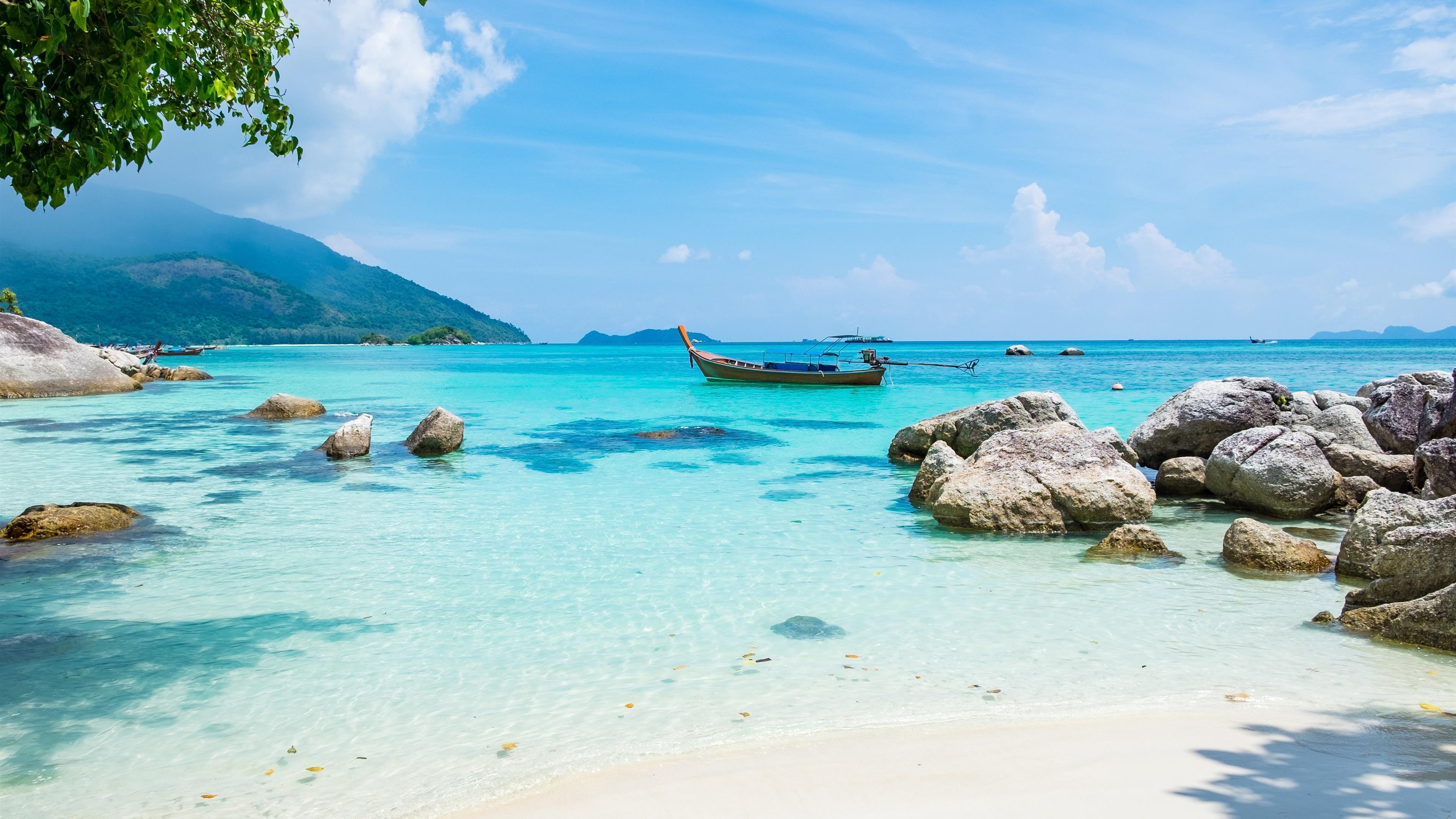 Wallpaper Tropics Landscape Sea Beach Boat Summer 3840x2160
