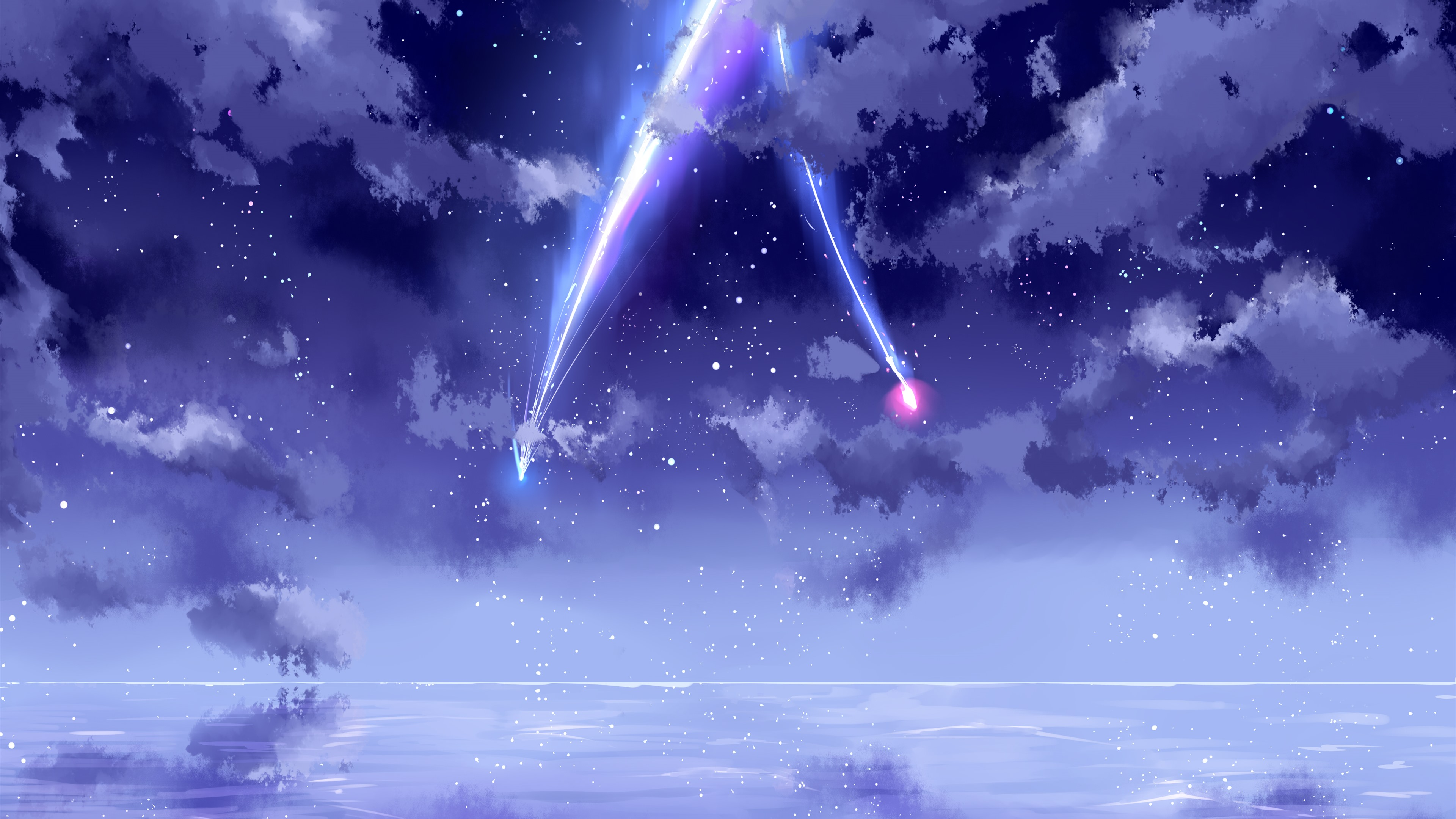 Wallpaper Your Name Beautiful Sky Meteor Anime 3840x2160
