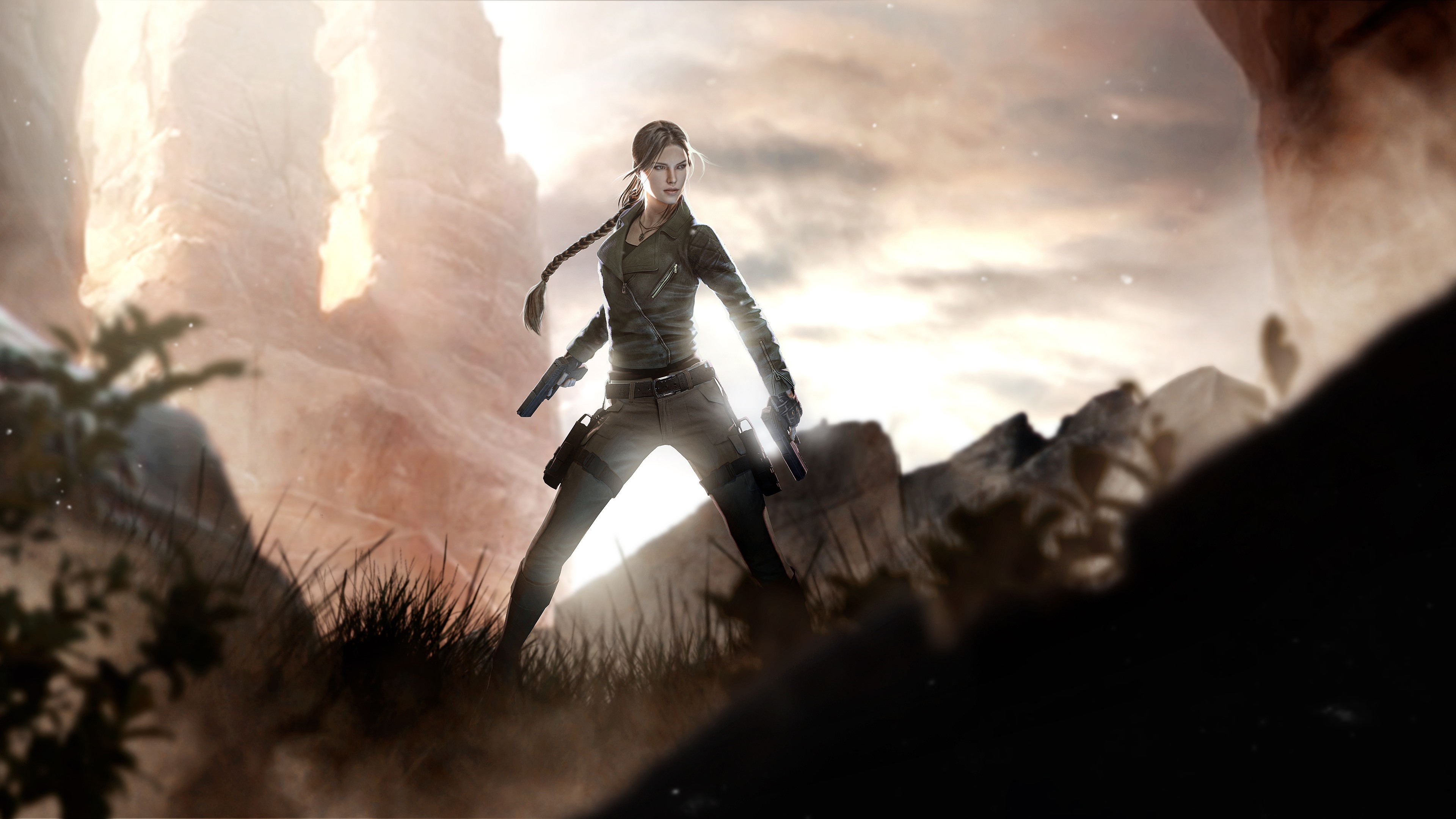 Wallpaper Lara Croft Tomb Raider Girl Gun 3840x2160 Uhd 4k
