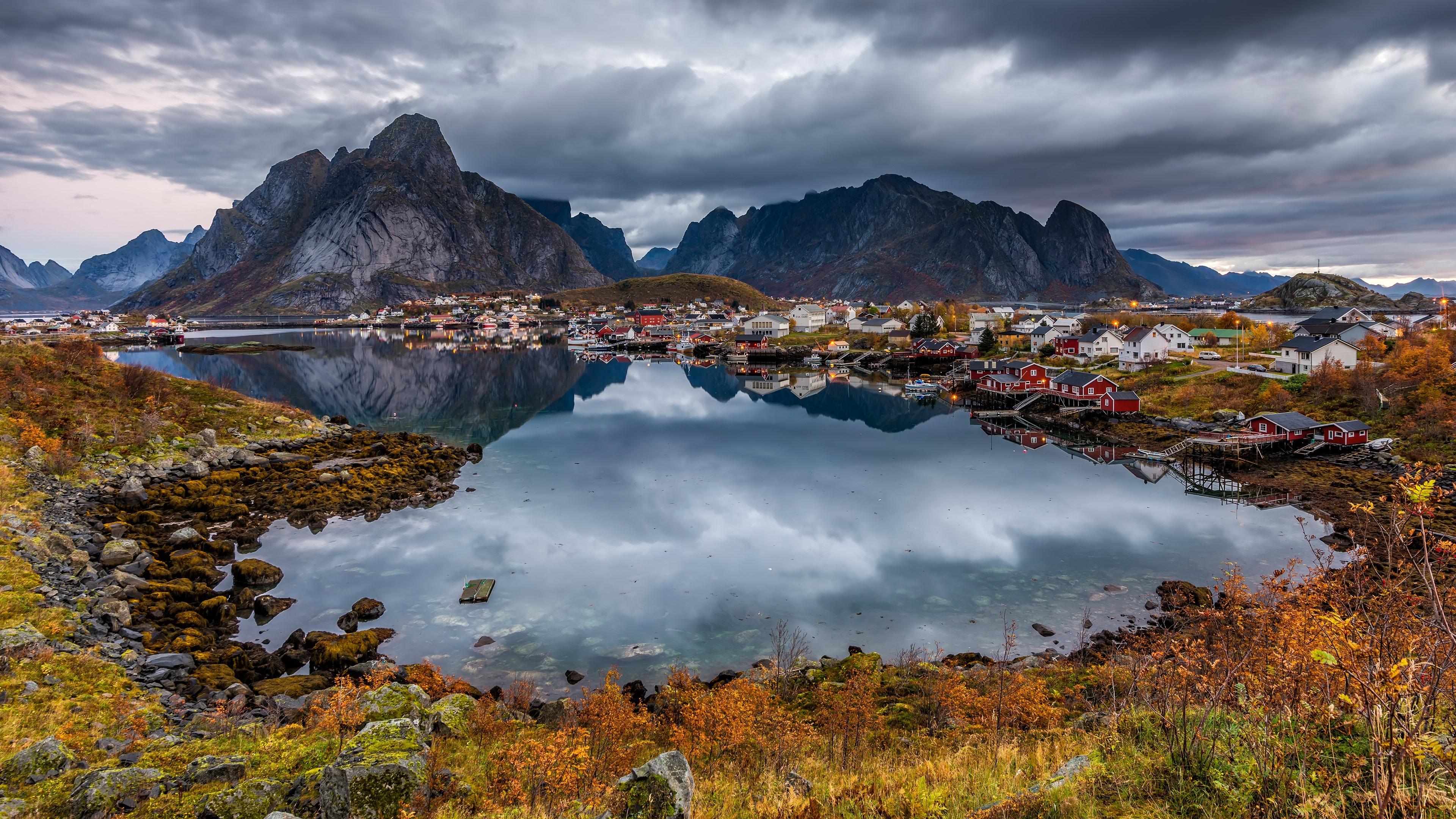 Wallpaper Norway City Lake Mountains 3840x2160 Uhd 4k