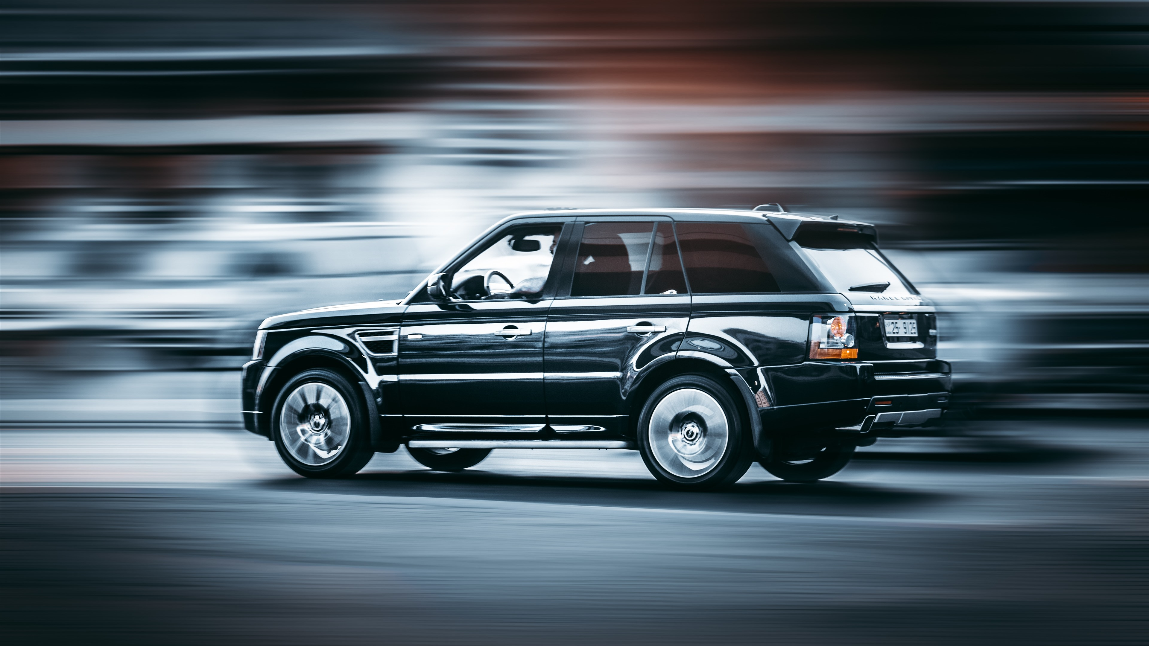 Wallpaper Range Rover Black Suv Car Side View Speed 5120x2880 Uhd 5k Picture Image