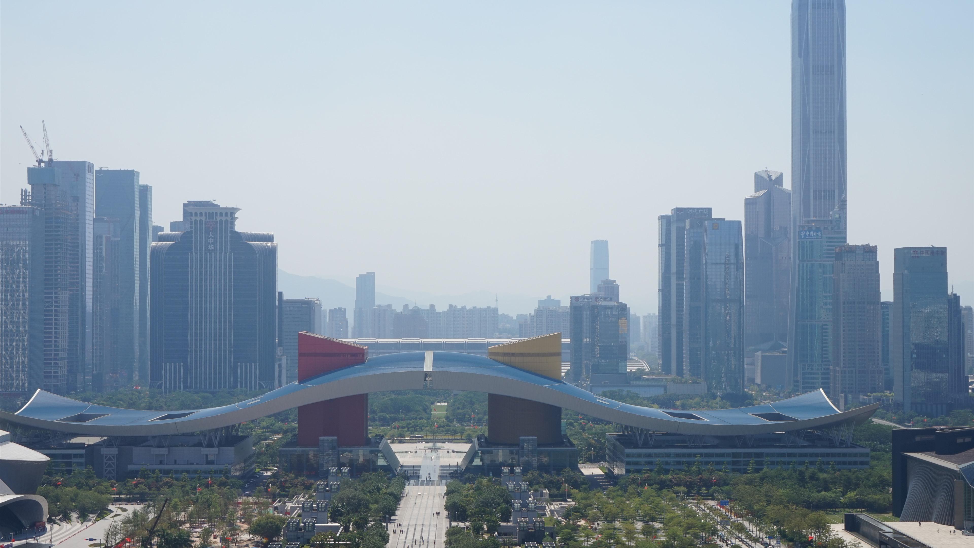 壁纸 深圳市民中心,摩天大楼,薄雾,中国 5120x2880 UHD 5K 高清壁纸, 图片, 照片
