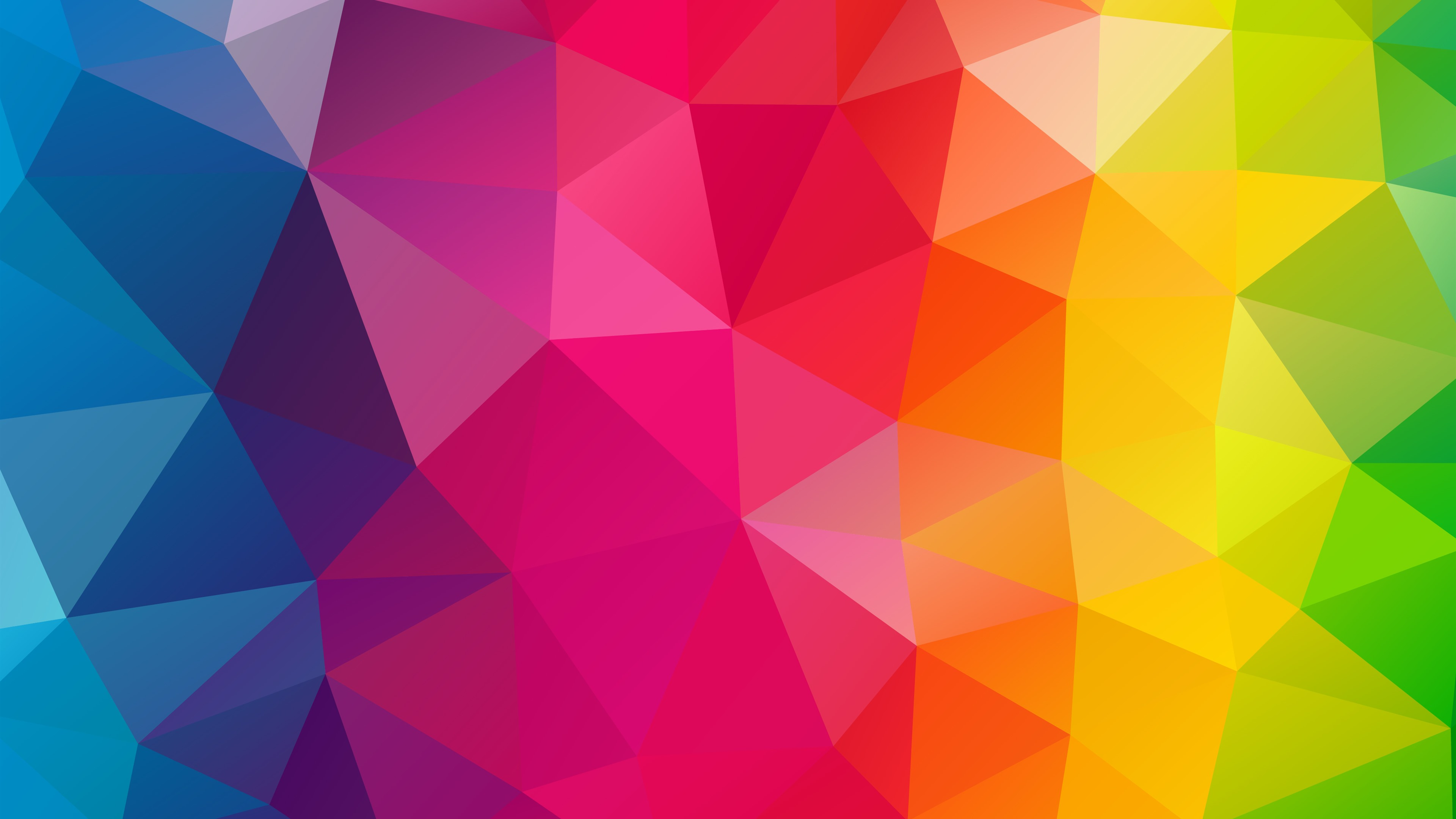 Wallpaper Triangles Combination Geometry Rainbow Colors