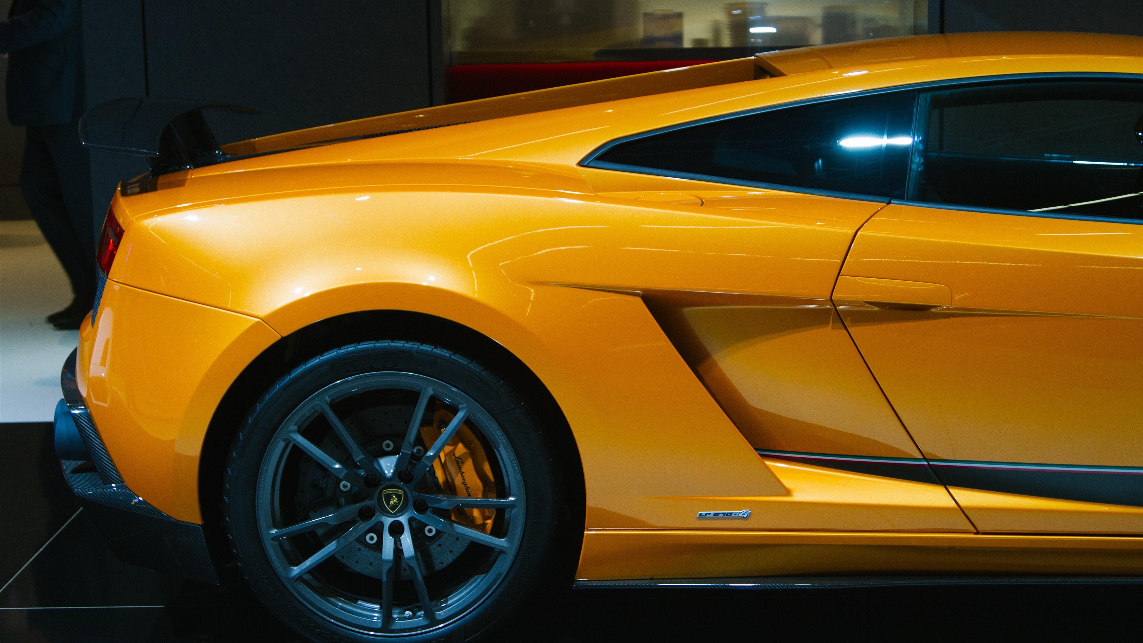 Lamborghini Yellow Car Rear View Wheel 1242x2688 Iphone Xs Max